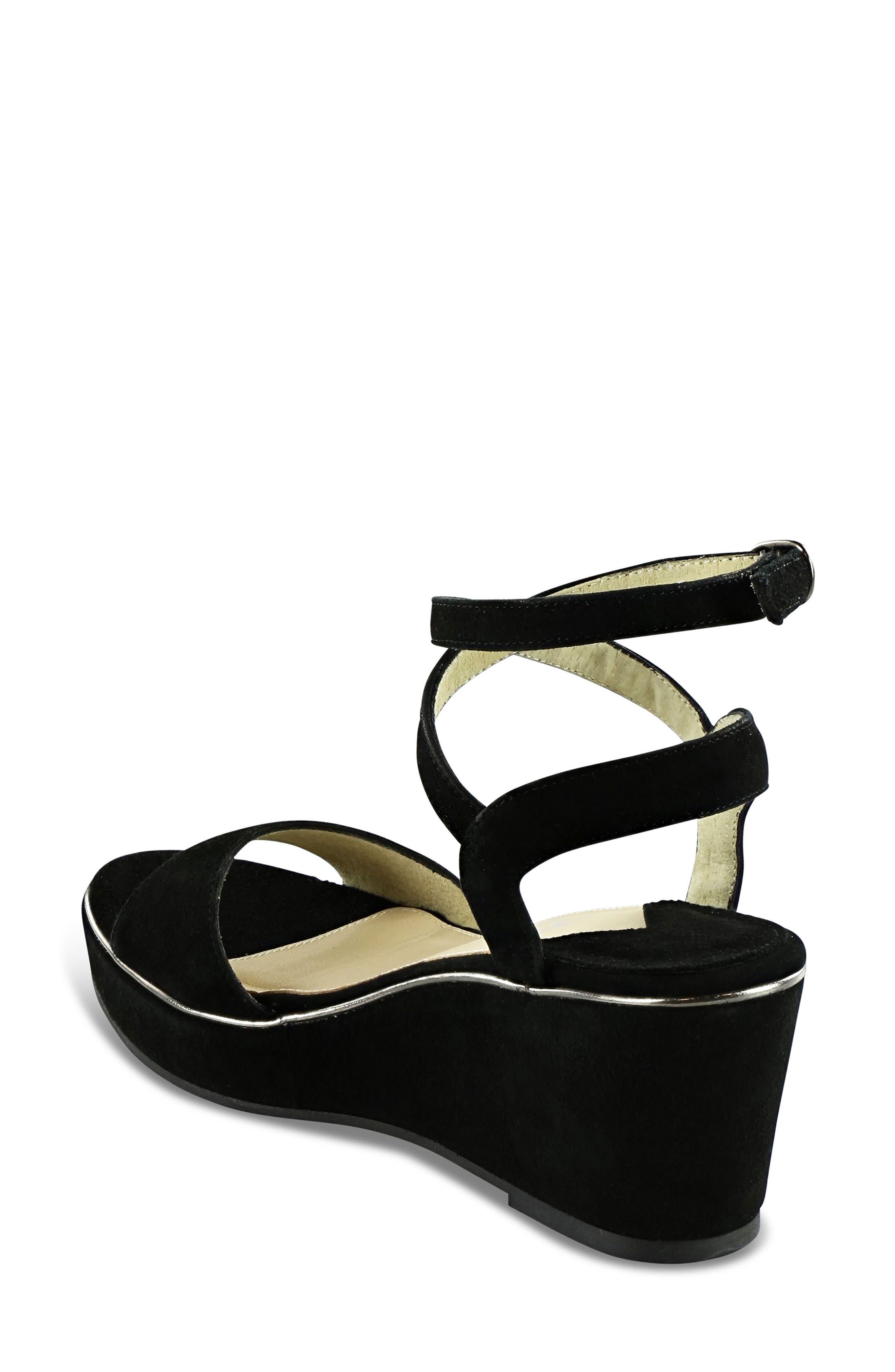 Sashi Platform Sandal,                             Alternate thumbnail 2, color,                             Black Suede