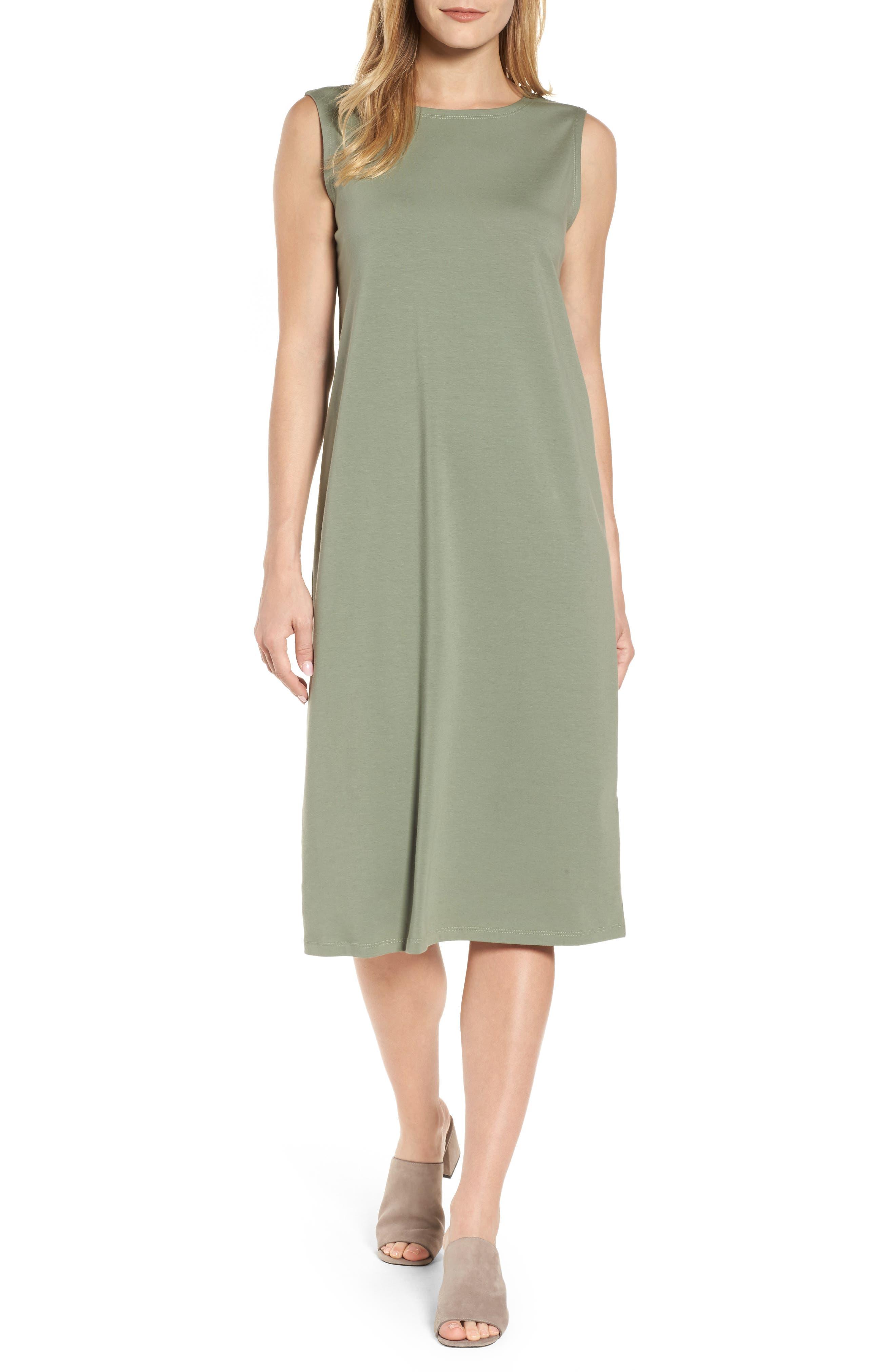Eileen Fisher Stretch Organic Cotton Midi Dress (Regular & Petite)