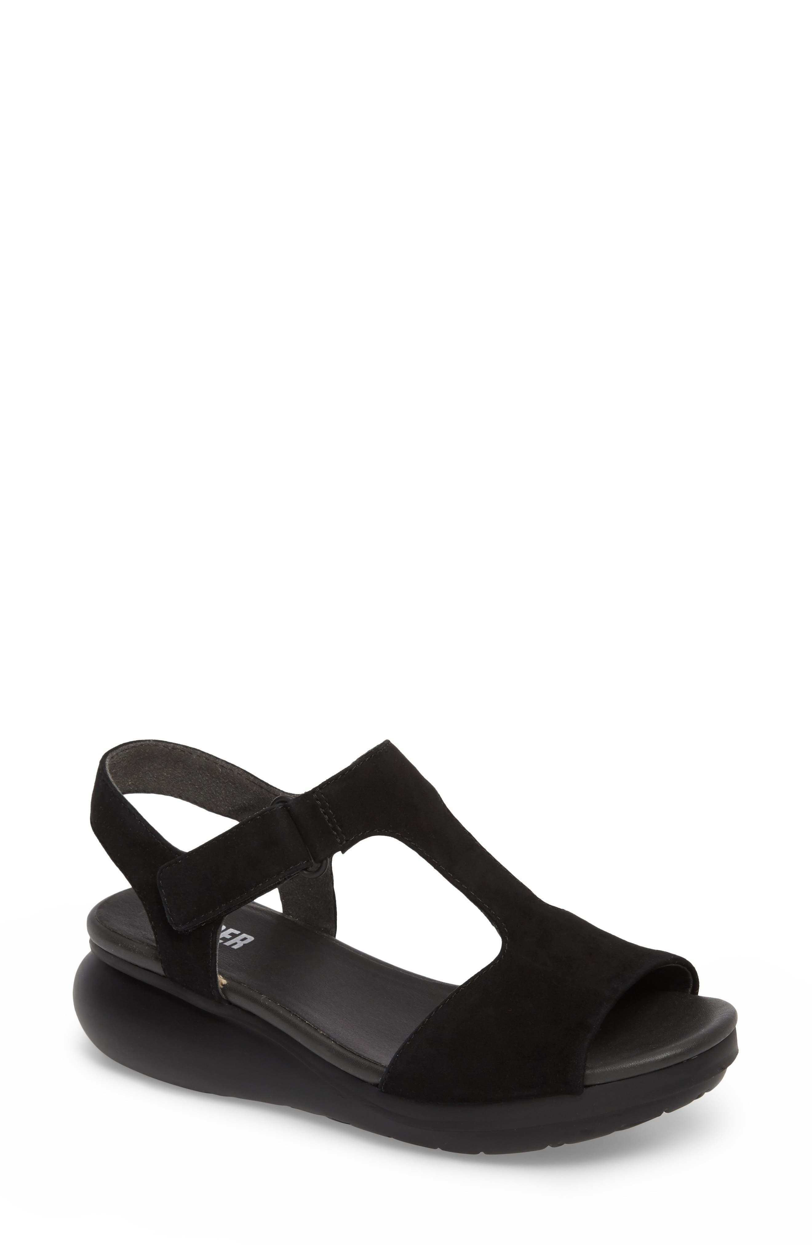 Balloon Wedge Sandal,                         Main,                         color, Black Suede