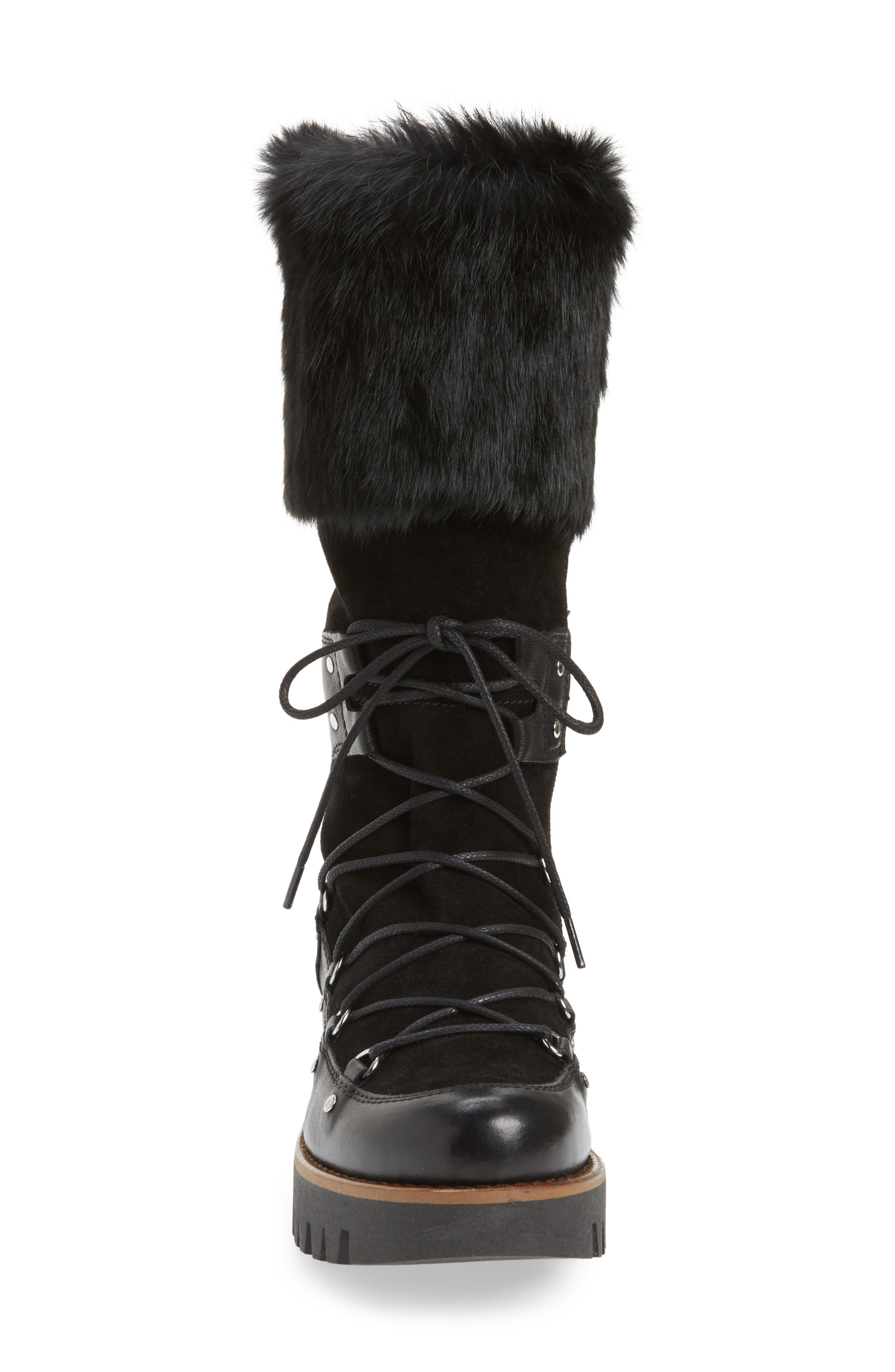 Tellurian Genuine Rabbit Fur Cuff Boot,                             Alternate thumbnail 4, color,                             Black Leather