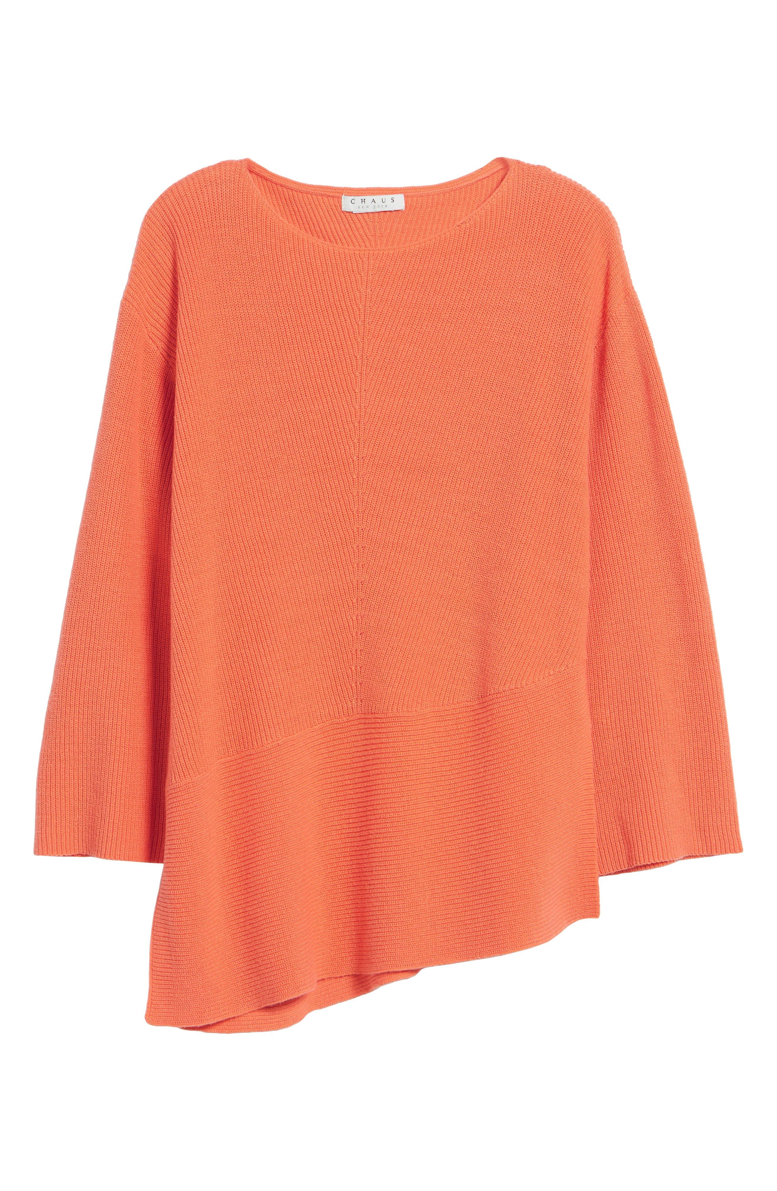 Ribbed Asymmetrical Hem Sweater,                             Alternate thumbnail 6, color,                             Cactus Rose