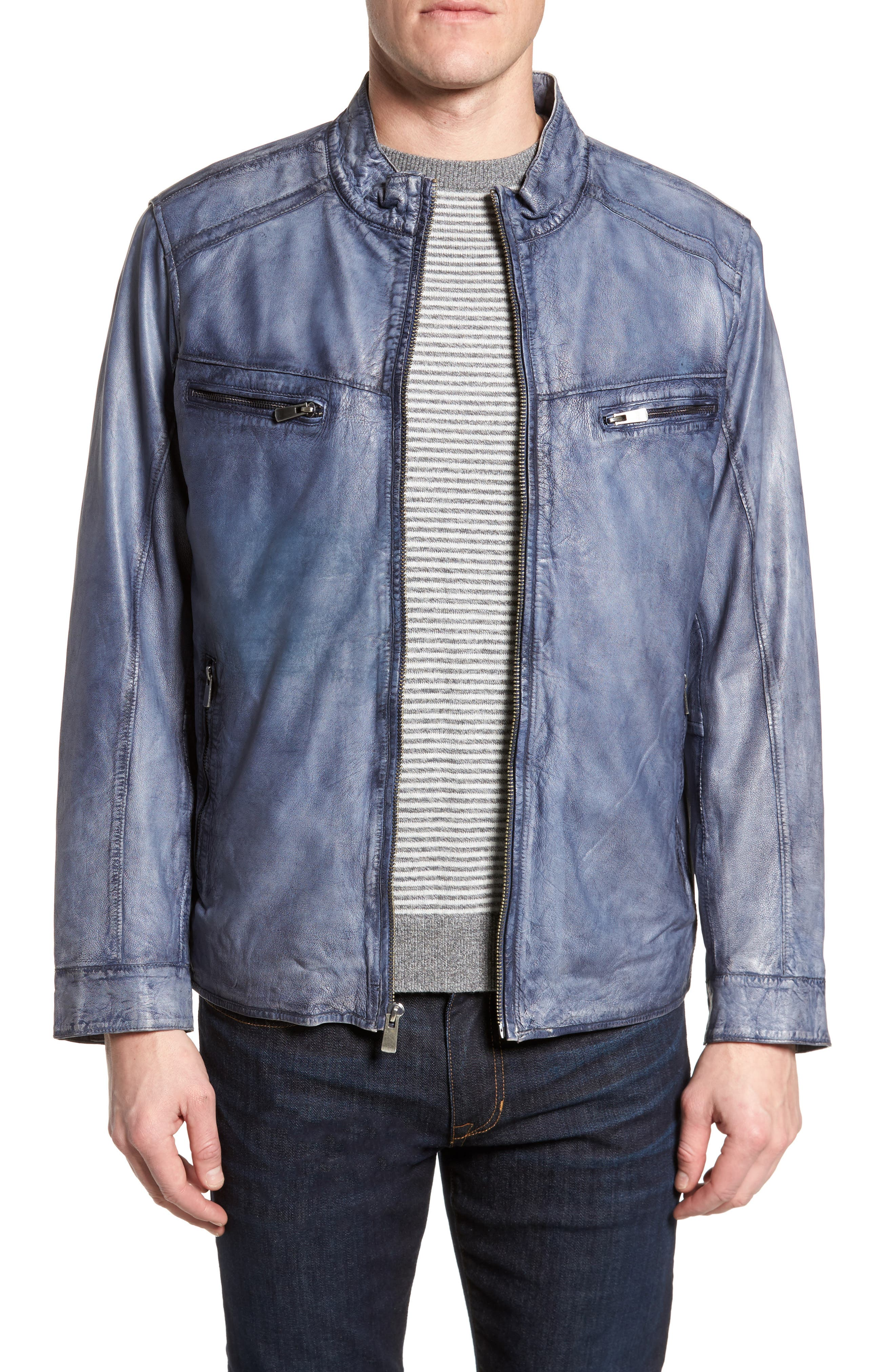Abraded Washed Leather Jacket,                         Main,                         color, Ice Blue