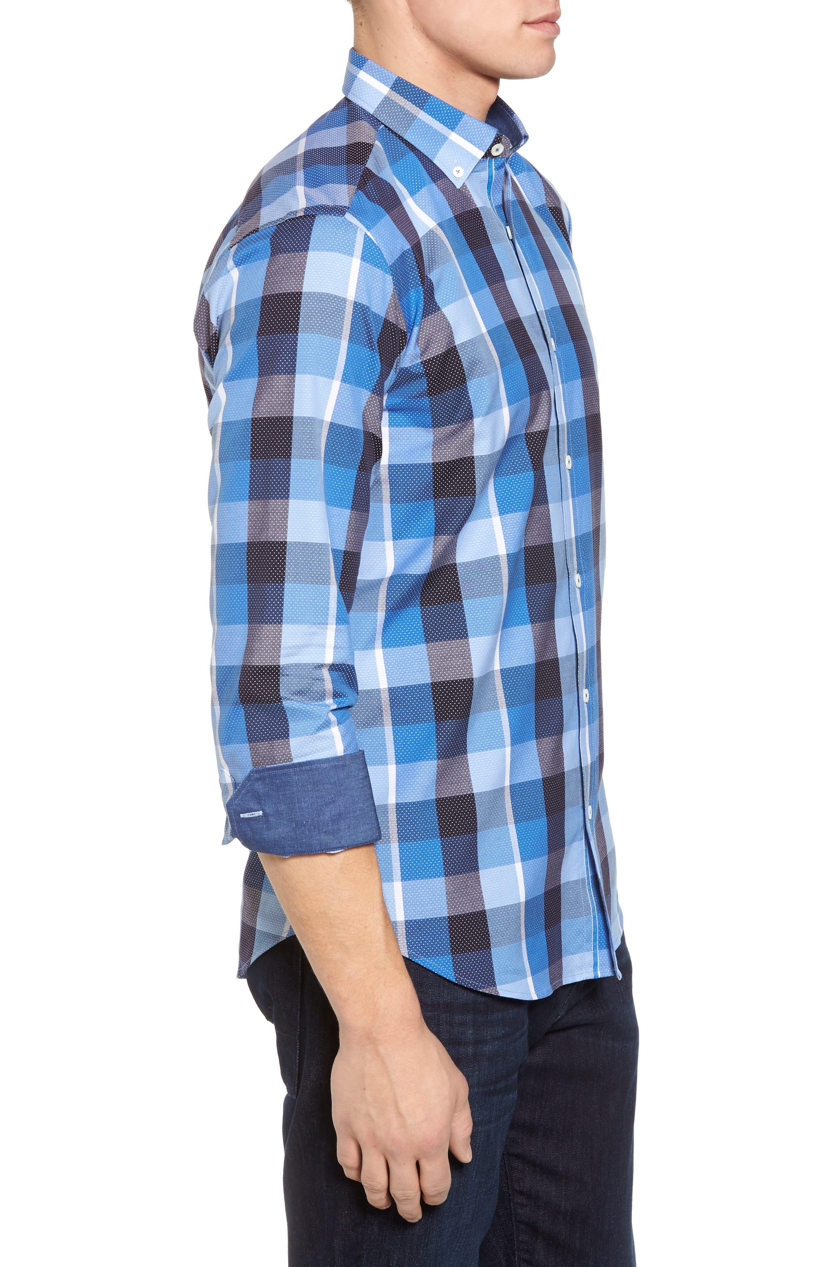 Shaped Fit Check Dot Sport Shirt,                             Alternate thumbnail 3, color,                             Classic Blue