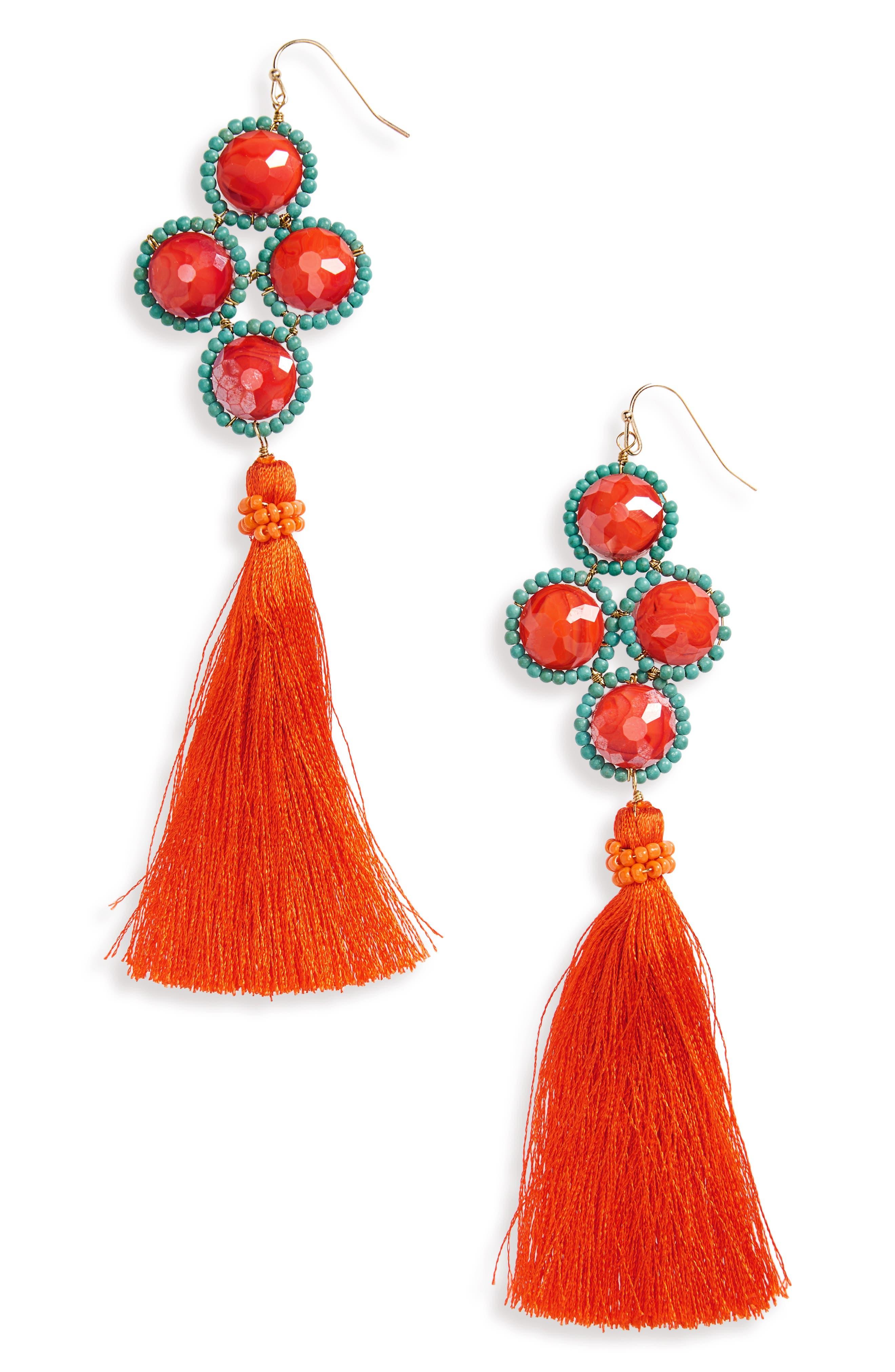 Howlite Stone Tassel Earrings,                         Main,                         color, Red