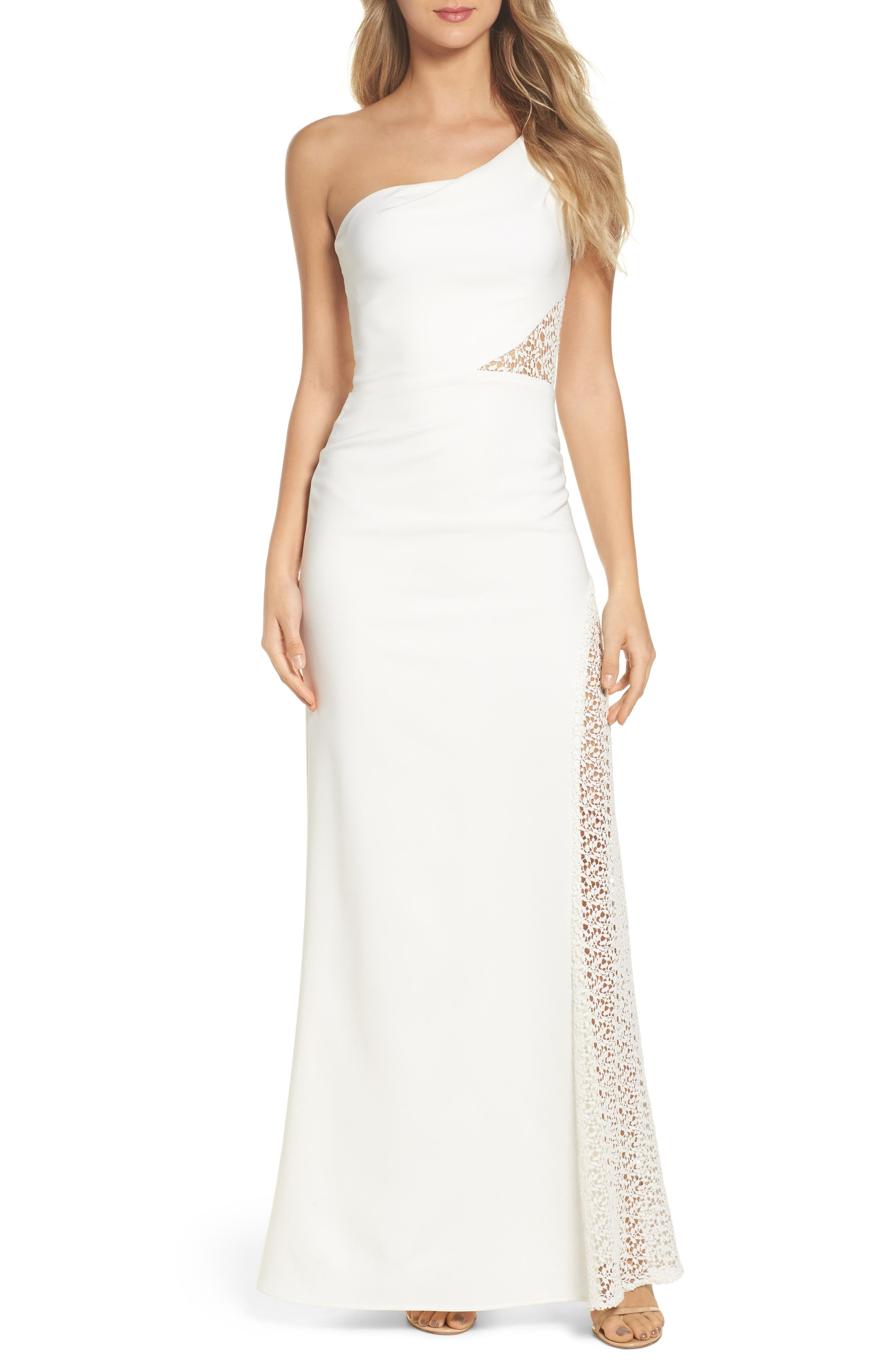 Olivia Lace Inset One-Shoulder Gown,                         Main,                         color, Ivory