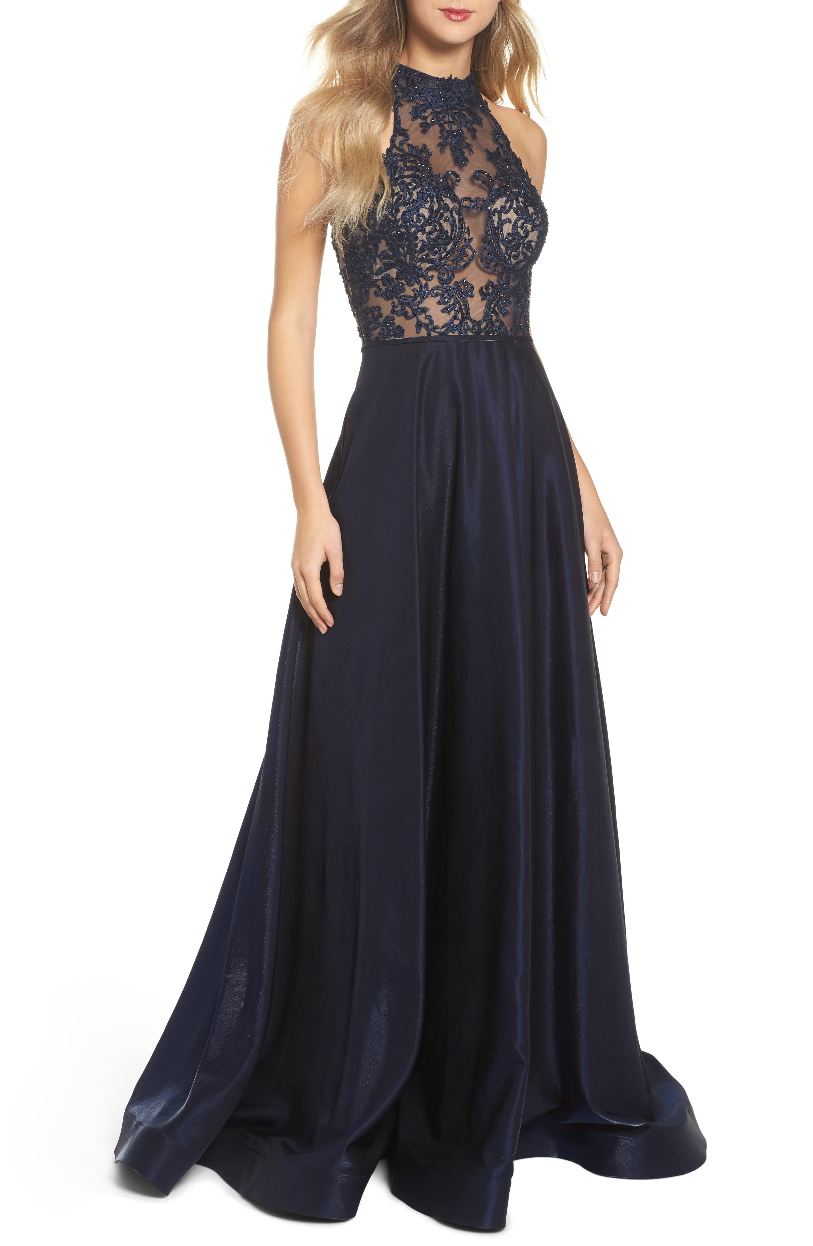 Embroidered Lace & Satin A-Line Ballgown,                             Main thumbnail 1, color,                             Navy