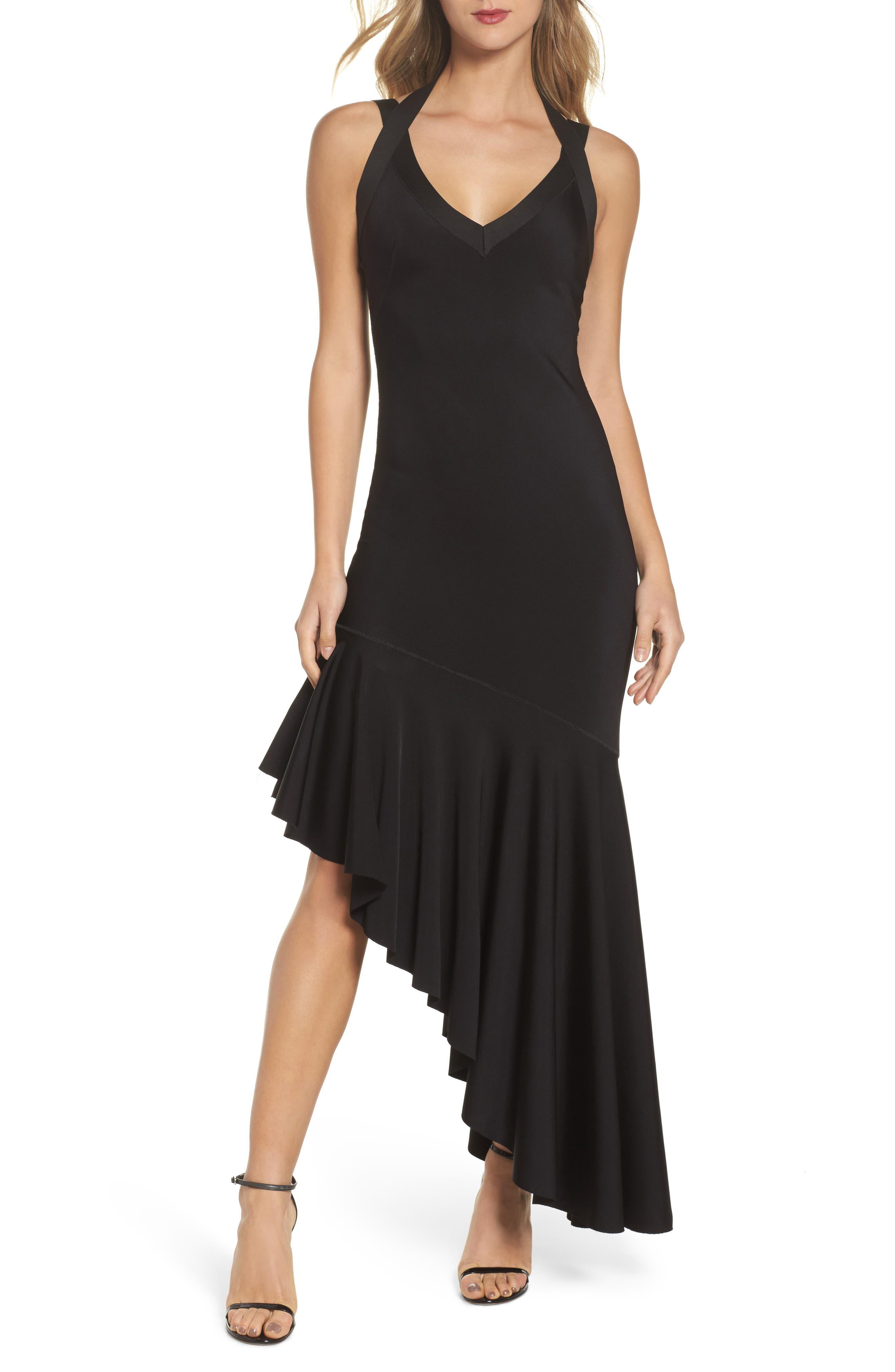 Tara High/Low Knit Dress,                             Main thumbnail 1, color,                             Black