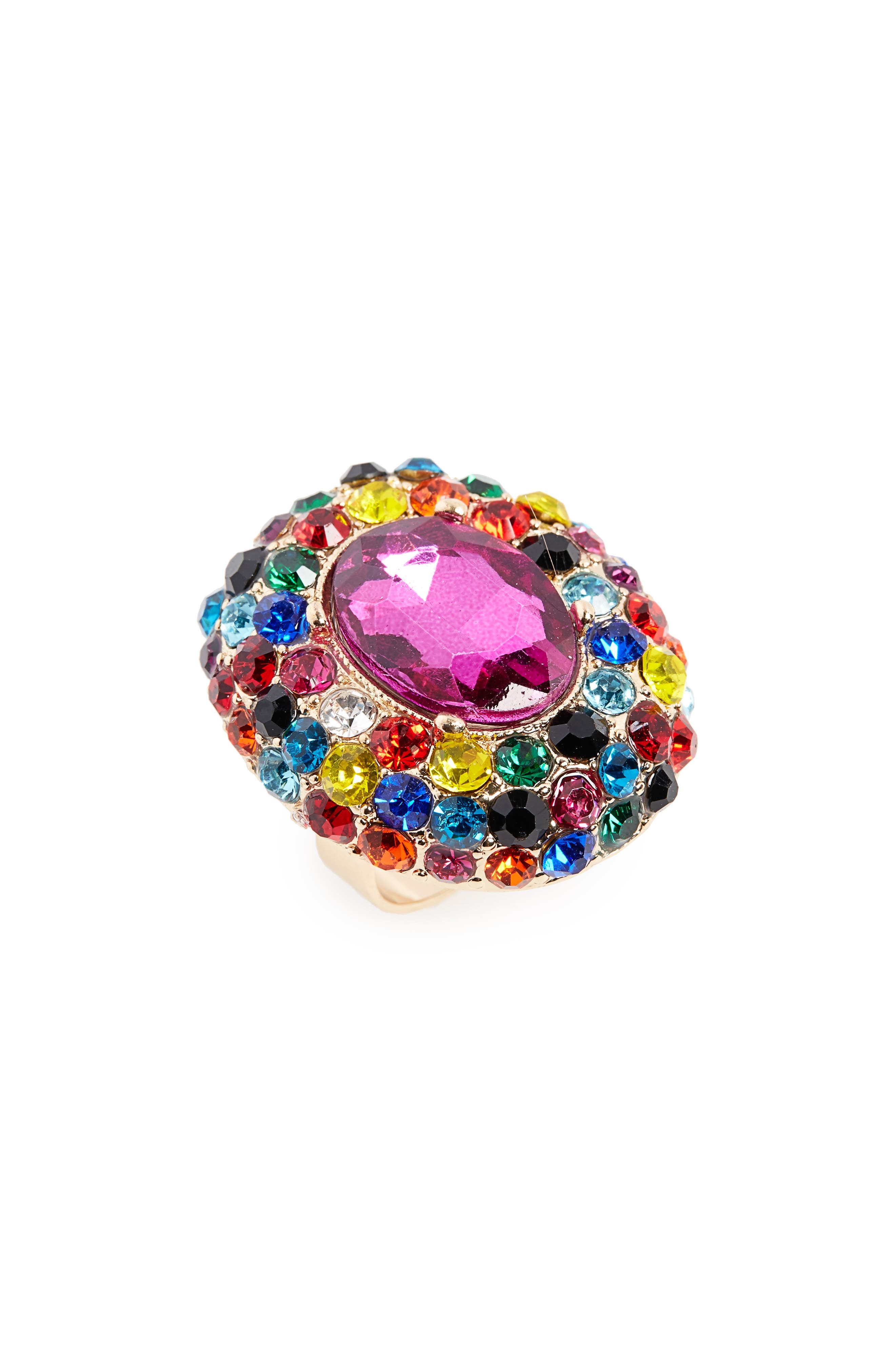 Crystal Adjustable Ring,                             Main thumbnail 1, color,                             Gold/ Multi