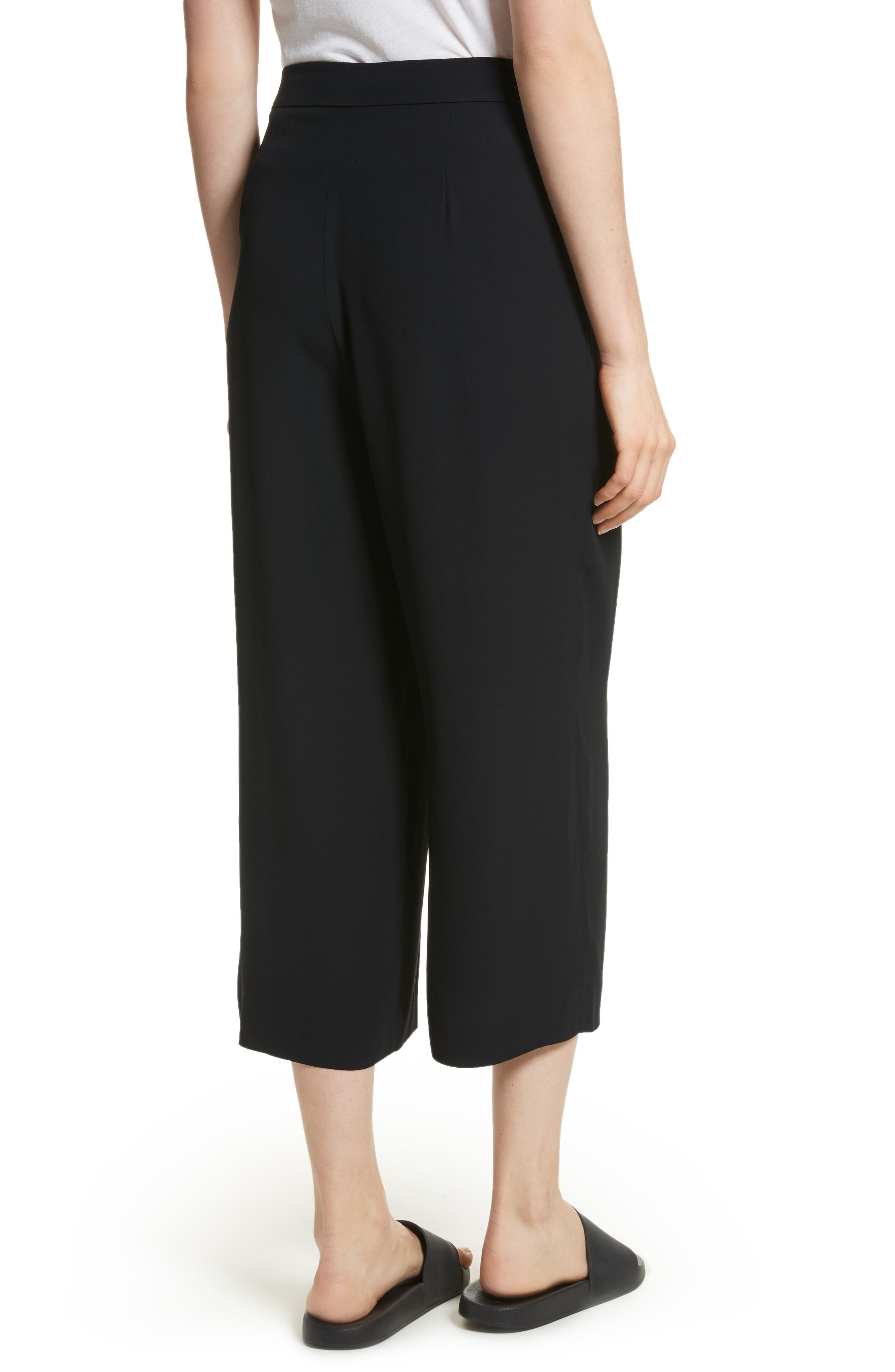 Belted Culottes,                             Alternate thumbnail 2, color,                             Black