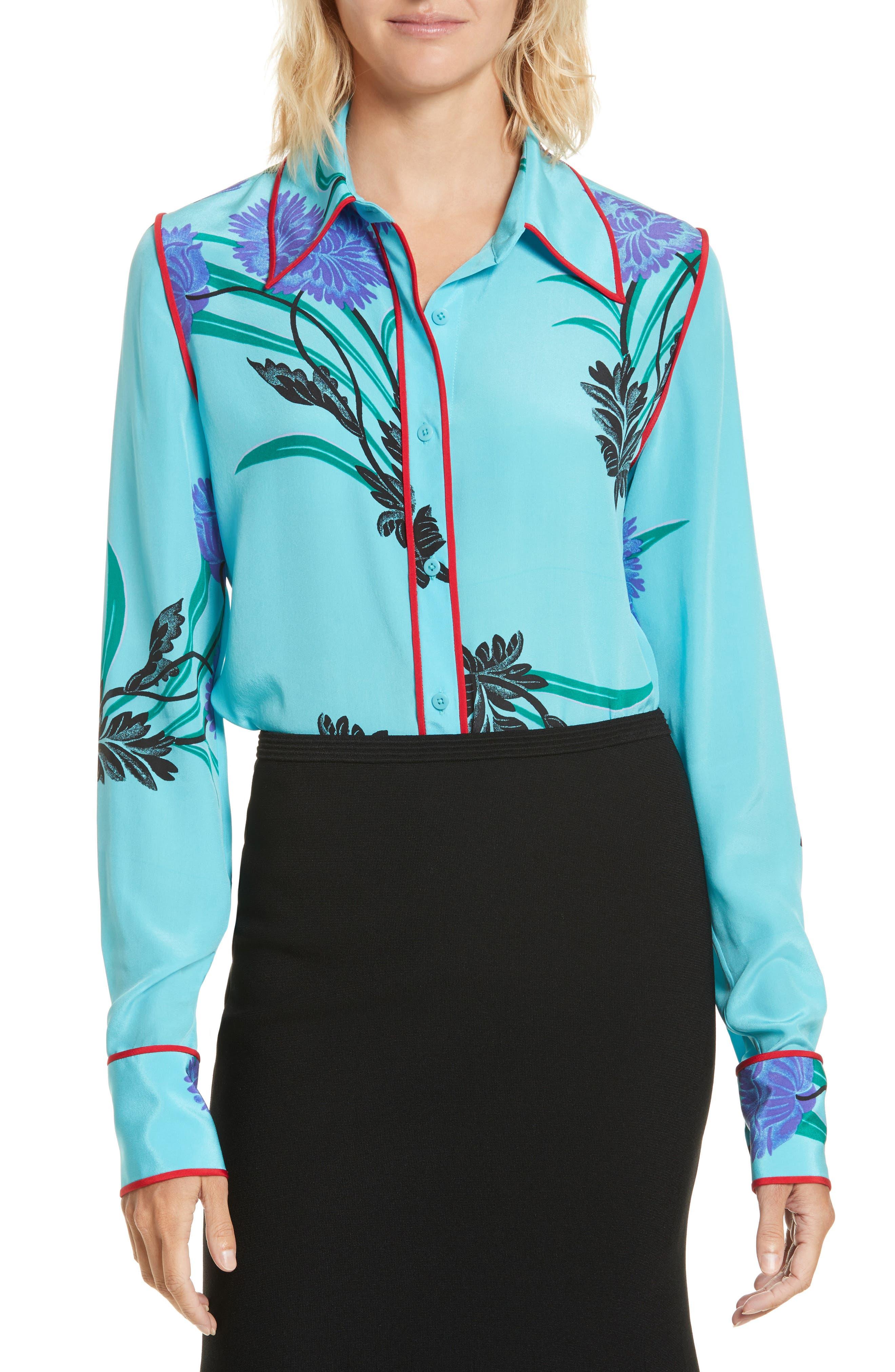 Floral Print Stretch Silk Shirt,                         Main,                         color, Farren Marine