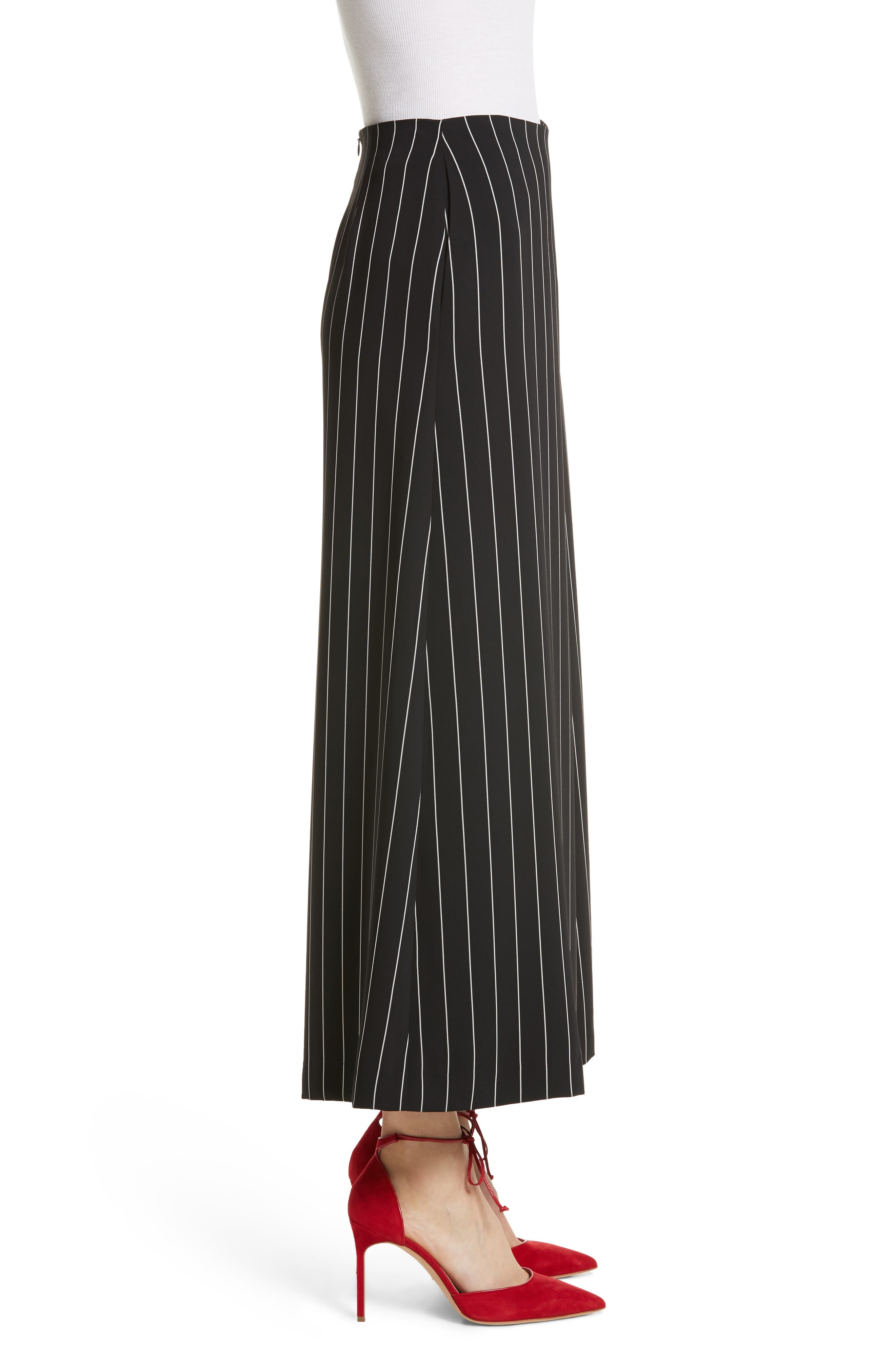 Wide Leg Stripe Trousers,                             Alternate thumbnail 3, color,                             Jet