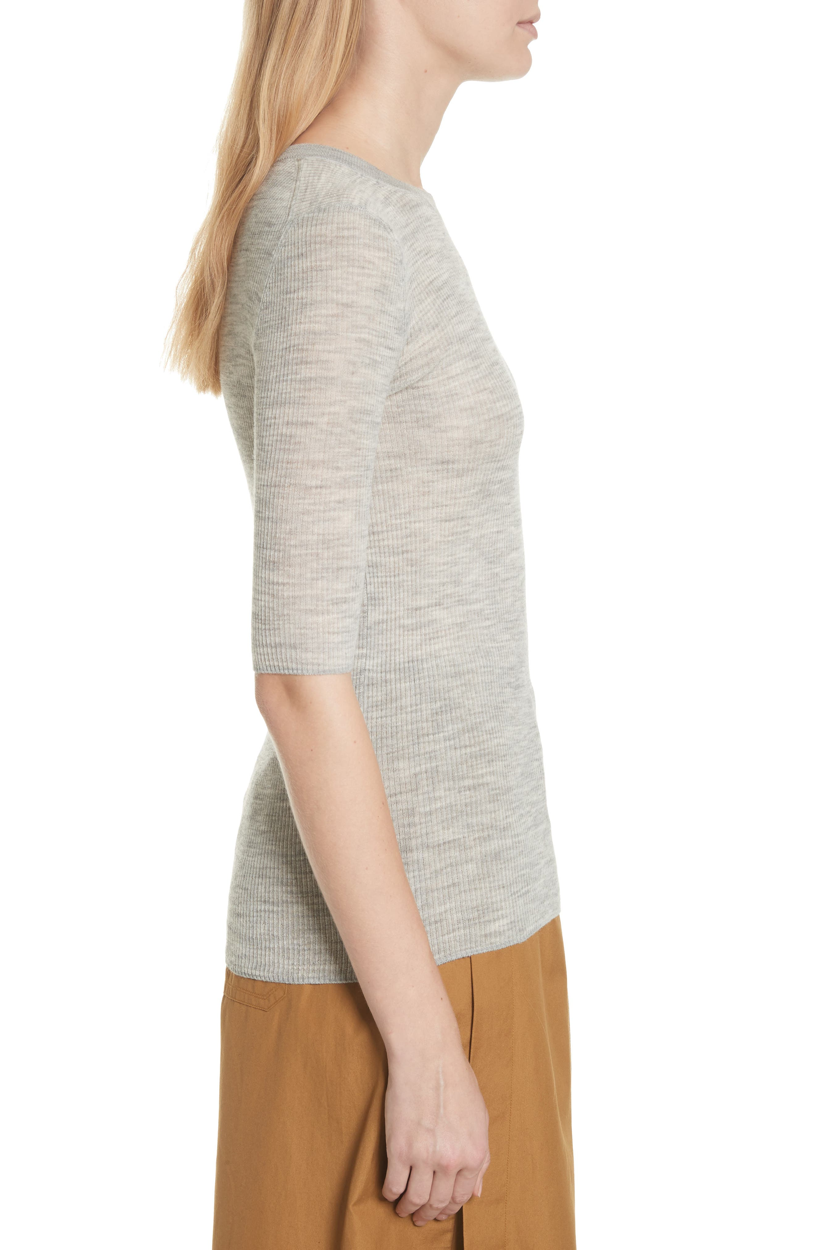 Ribbed Sweater,                             Alternate thumbnail 3, color,                             Light Heather Grey