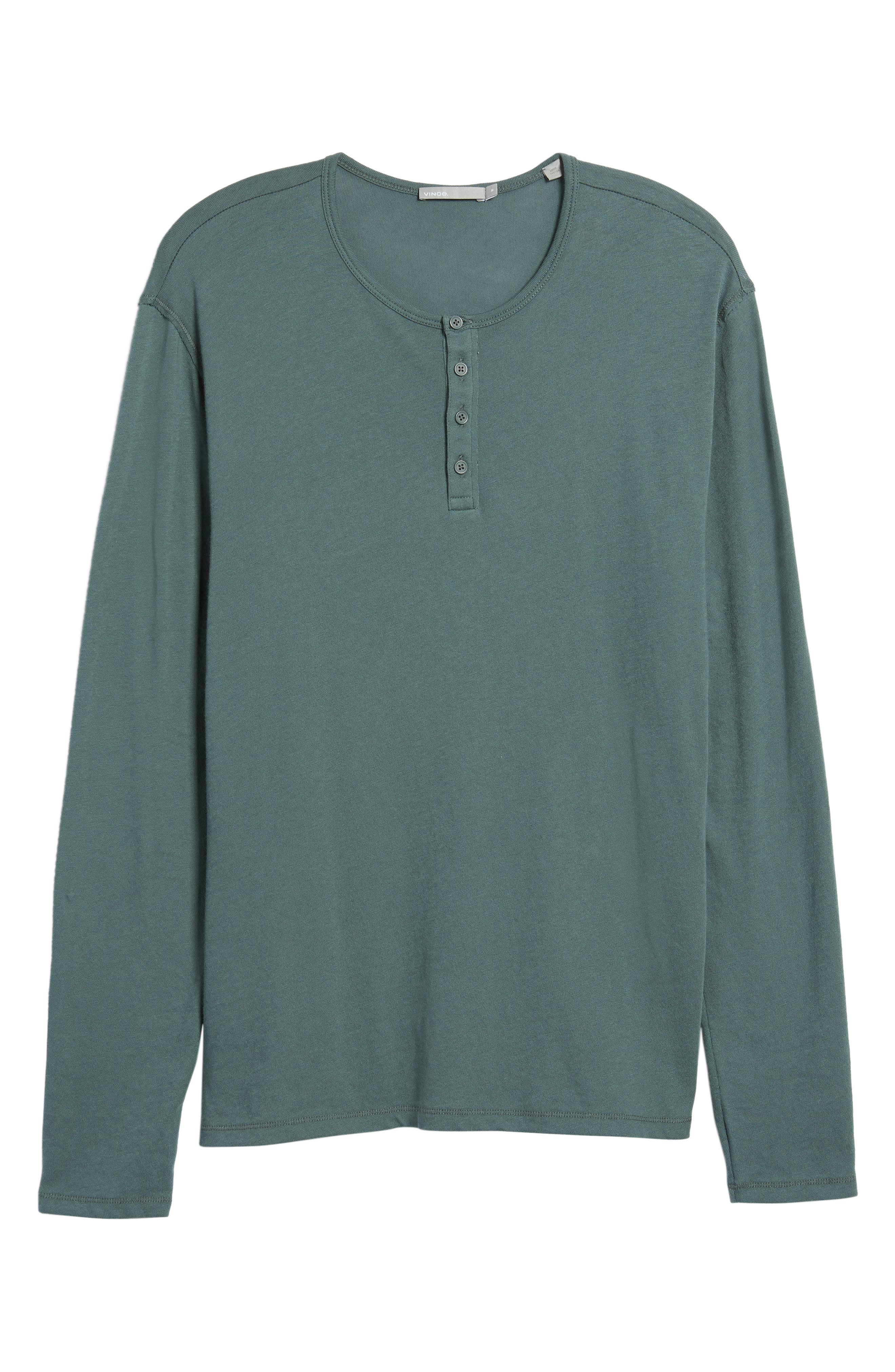 Raw Edge Long Sleeve Henley T-Shirt,                             Alternate thumbnail 6, color,                             Cilantro
