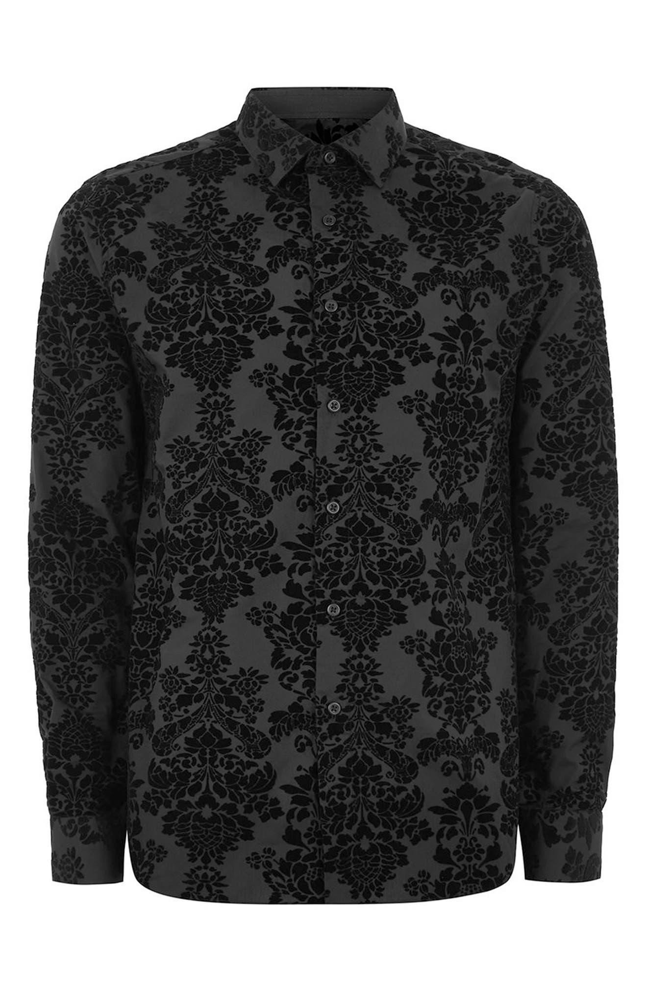 Slim Fit Flocked Shirt,                             Alternate thumbnail 4, color,                             Black