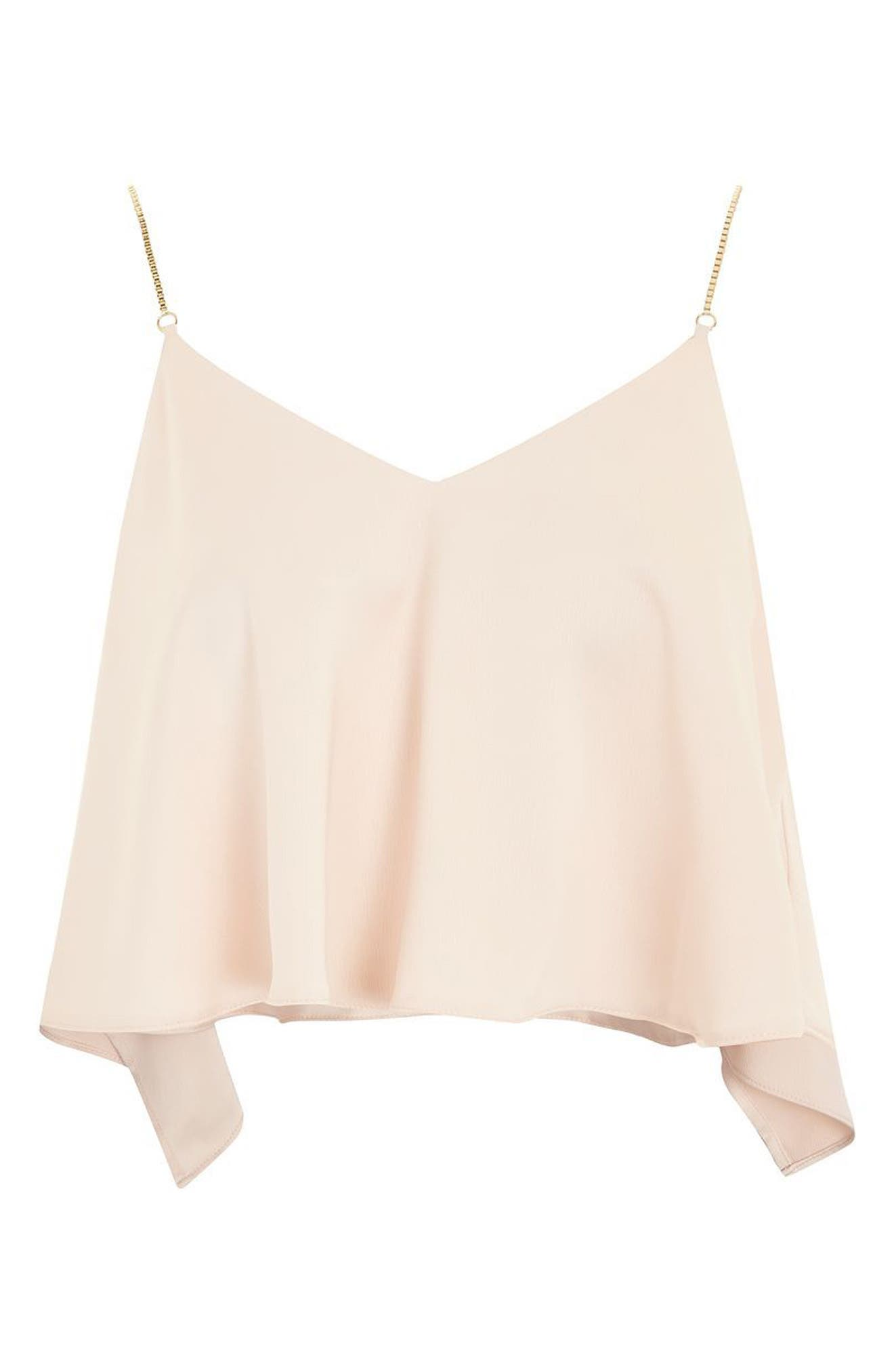 Chain Strap Camisole Top,                             Alternate thumbnail 4, color,                             Nude