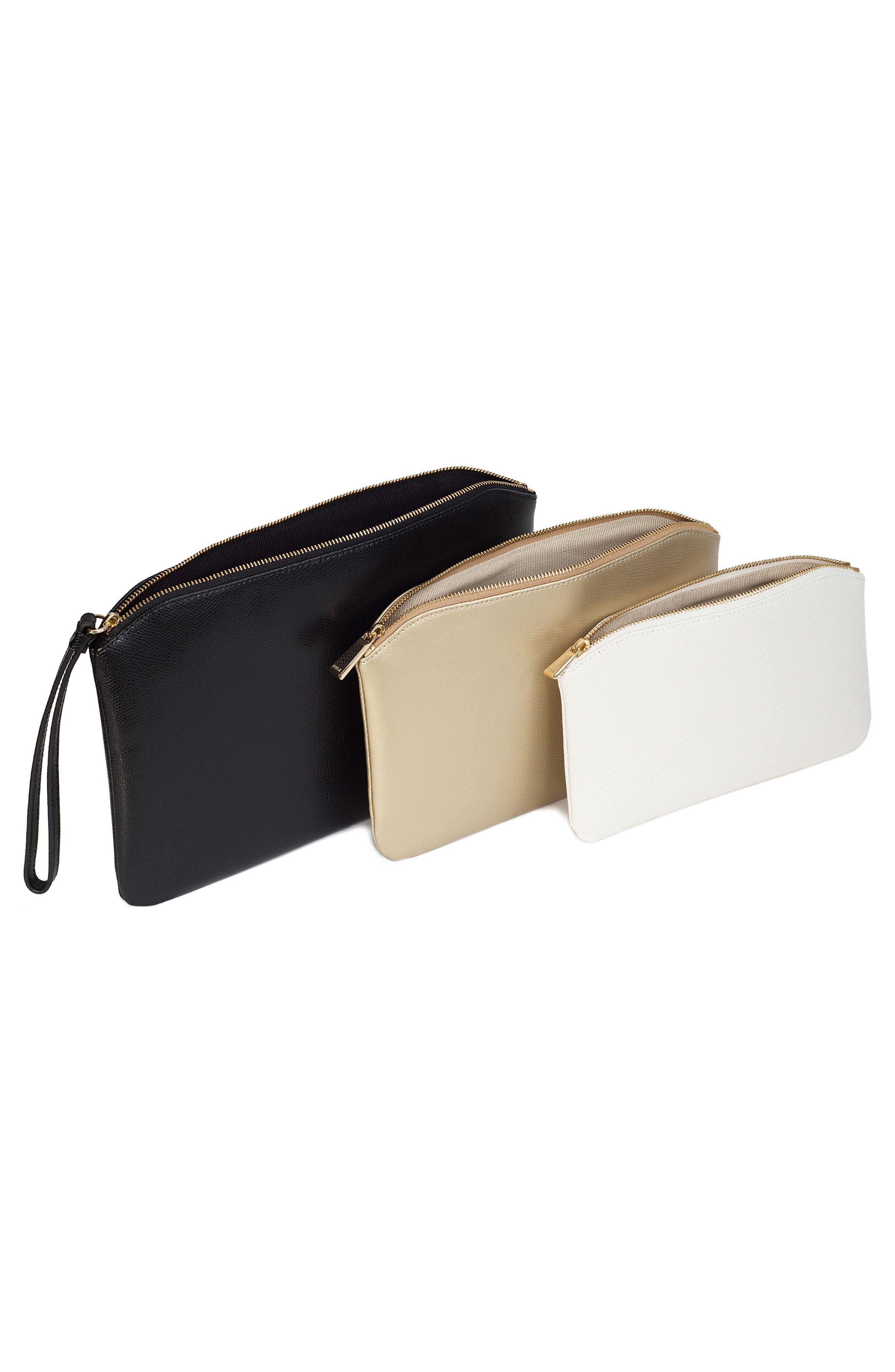 Venere Set of 3 Leather Cosmetic Bags,                             Alternate thumbnail 2, color,                             Onyx/ Gold/ Petalo