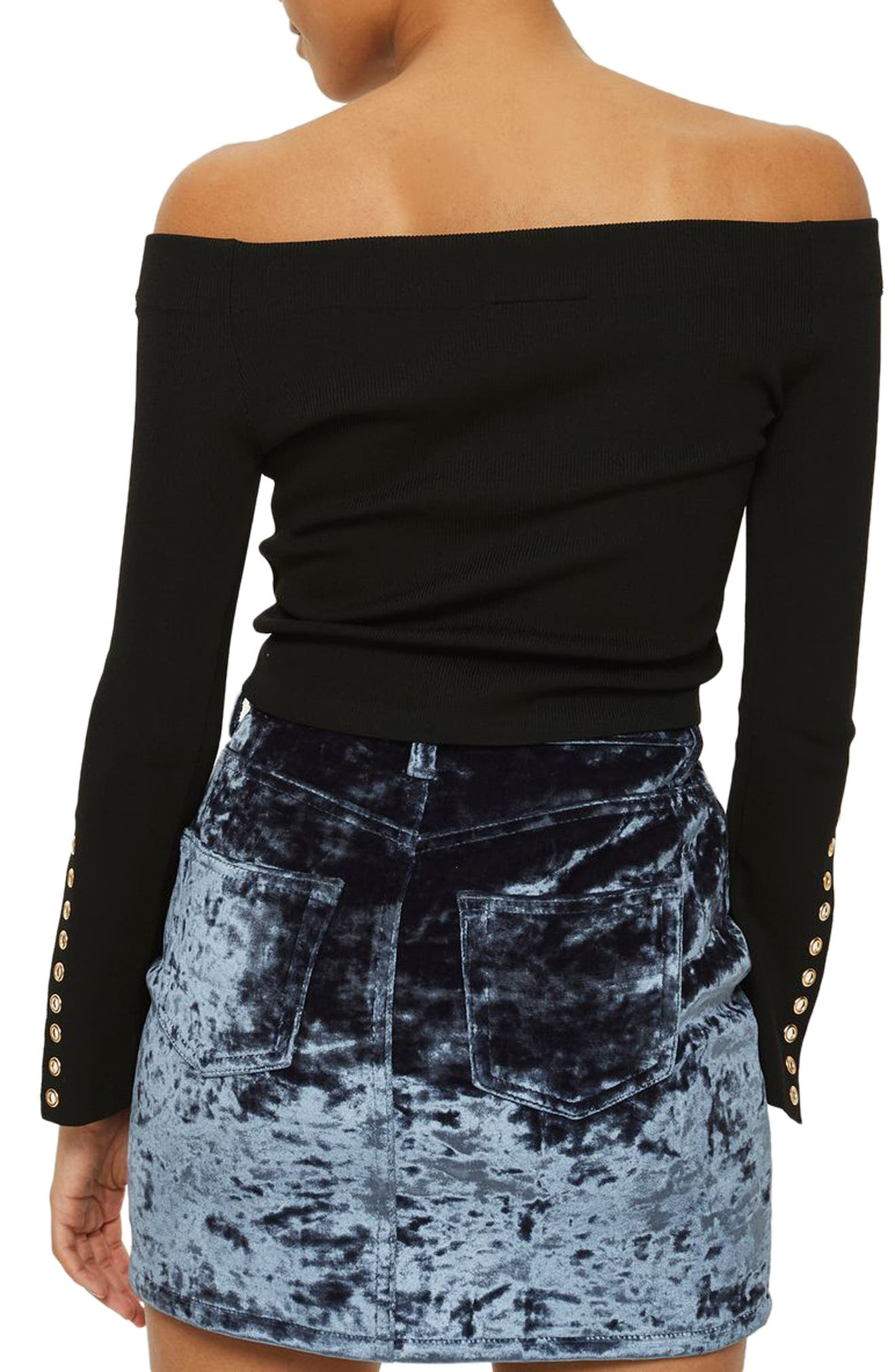 Eyelet Cuff Off the Shoulder Sweater,                             Alternate thumbnail 2, color,                             Black