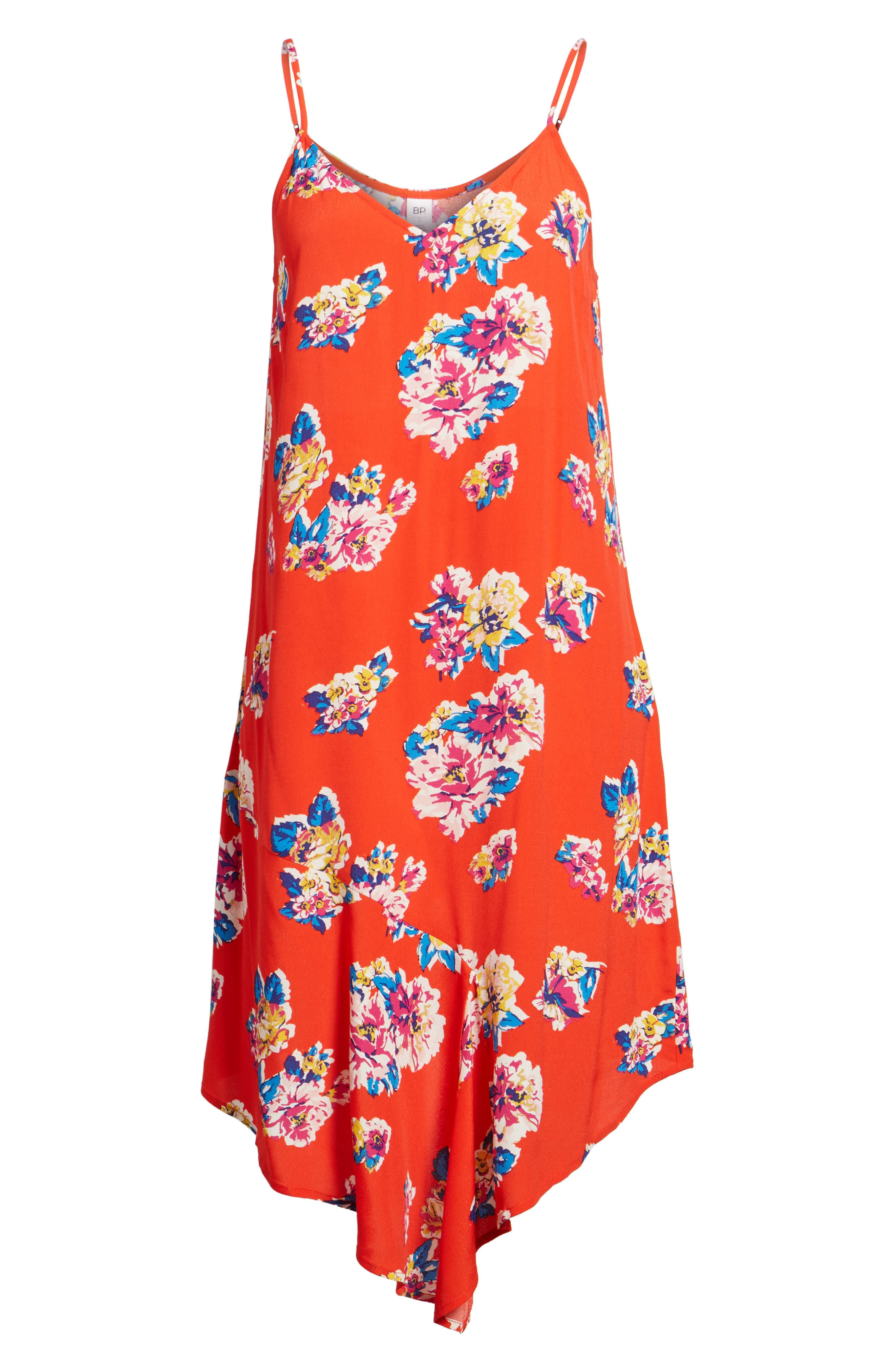 Asymmetrical Floral Print Dress,                             Alternate thumbnail 6, color,                             Red Fiery Bold Bloom