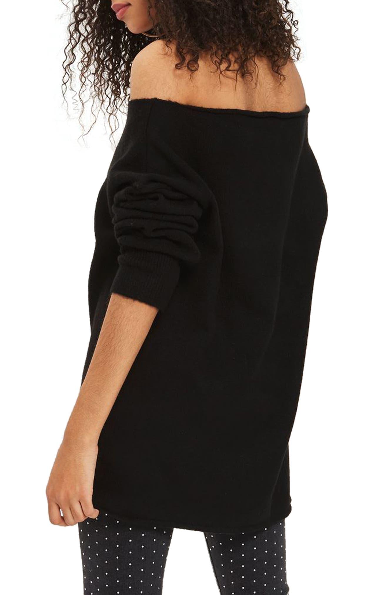 Exposed Seam Sweater,                             Alternate thumbnail 3, color,                             Black