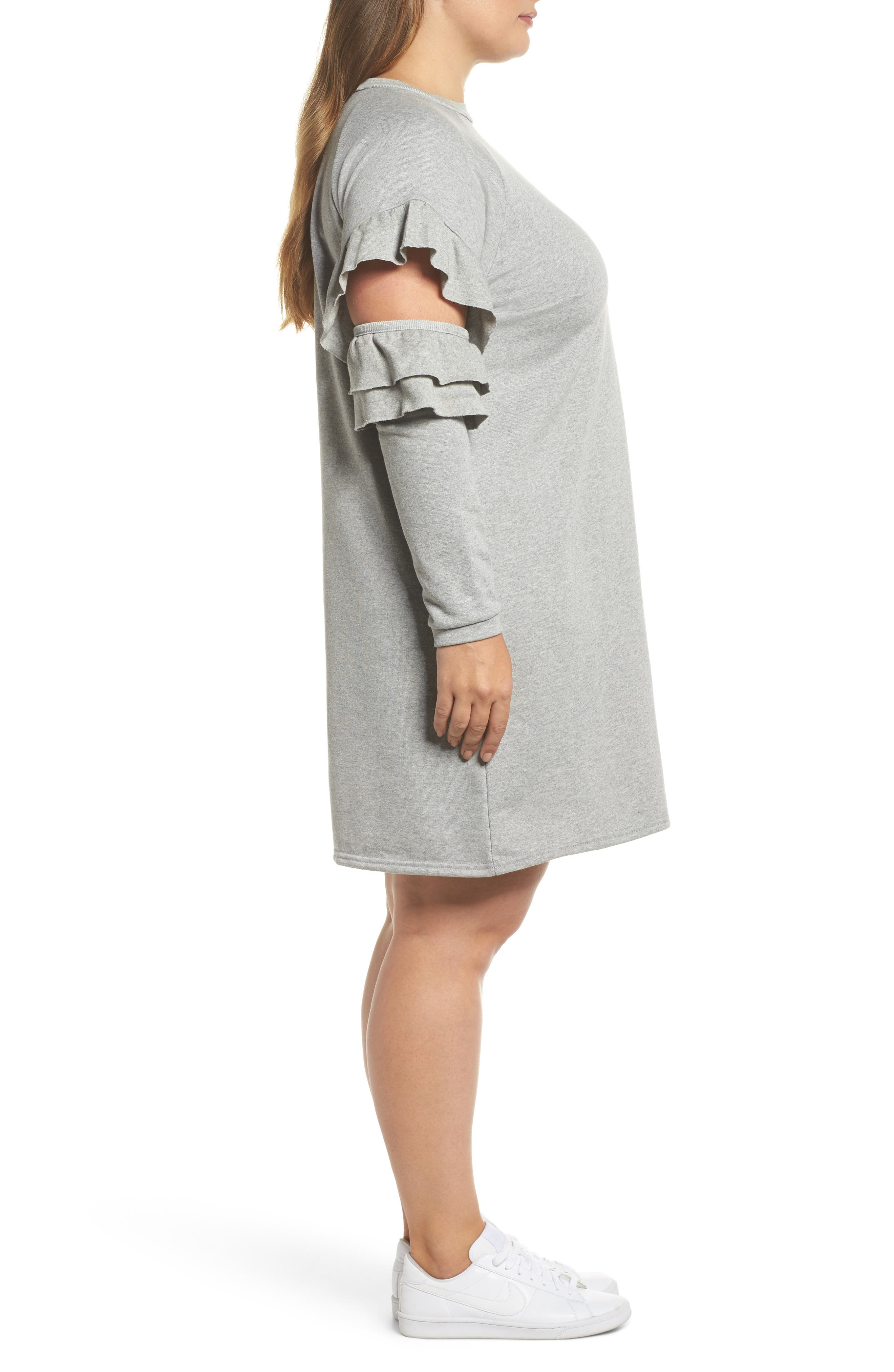 Ruffle Sleeve French Terry Dress,                             Alternate thumbnail 3, color,                             Light Grey