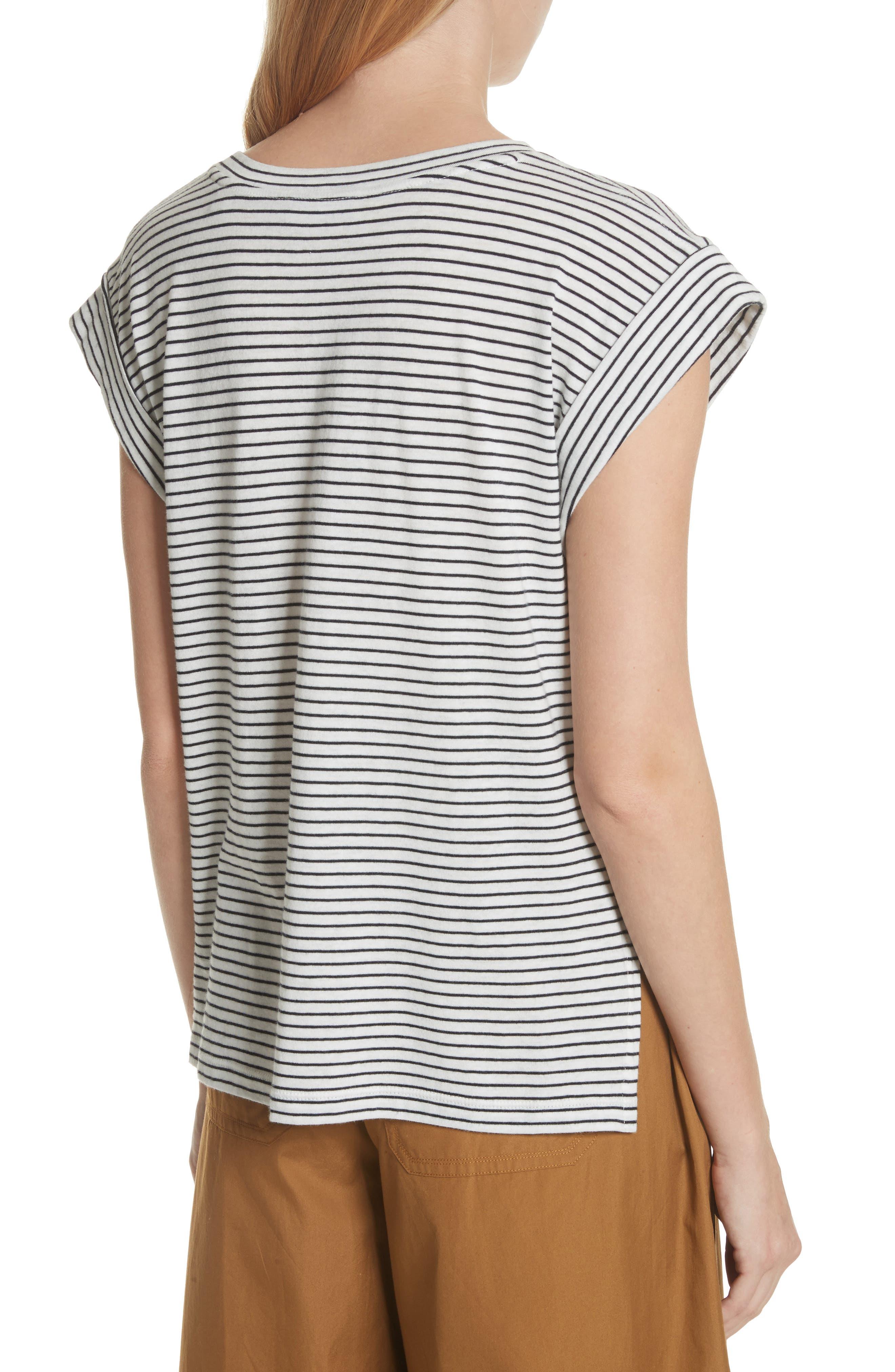 Classic Stripe Rolled Sleeve Cotton Tee,                             Alternate thumbnail 2, color,                             Vanilla/ Coastal