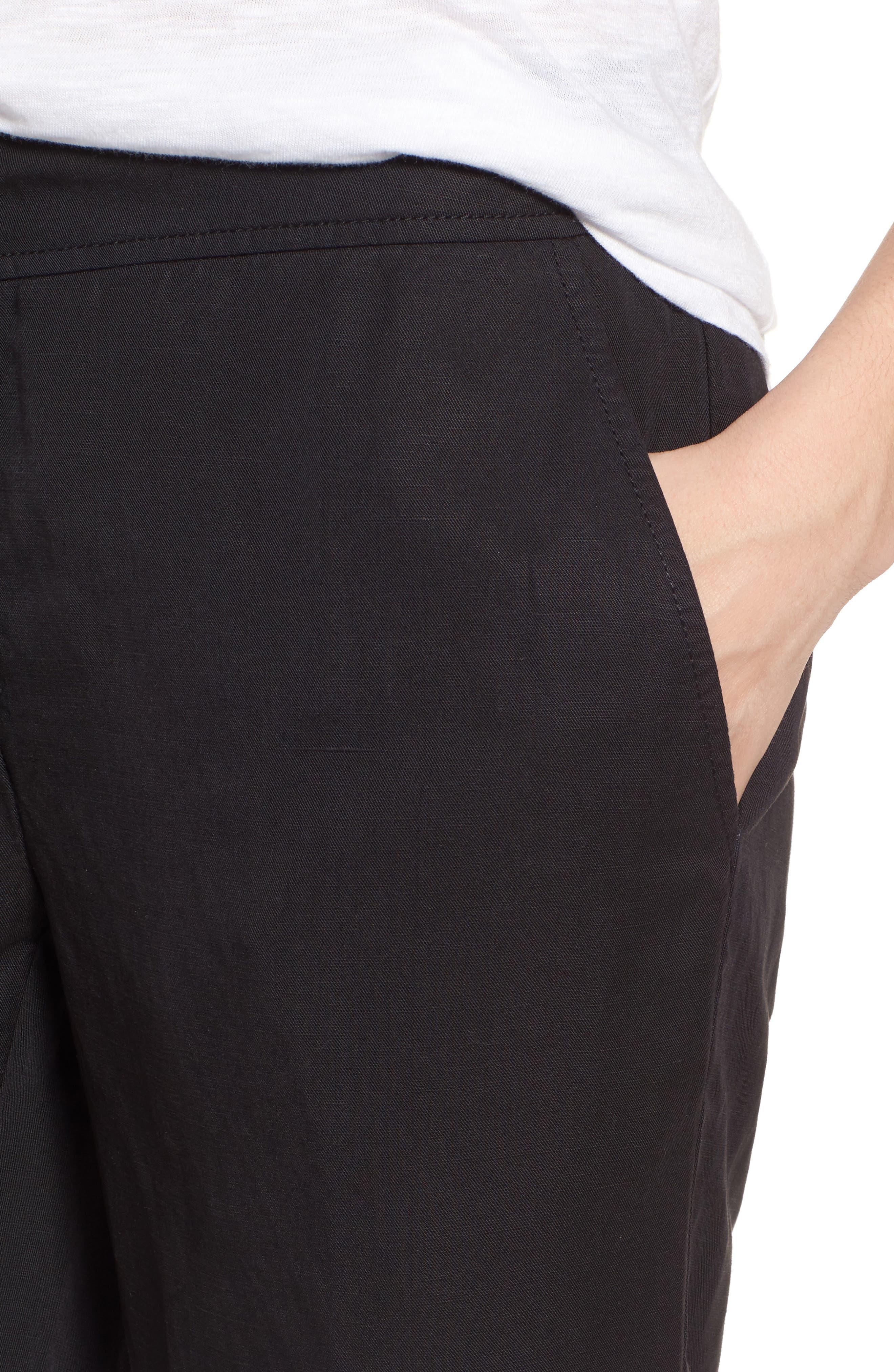Tencel<sup>®</sup> Lyocell & Linen Walking Shorts,                             Alternate thumbnail 4, color,                             Black