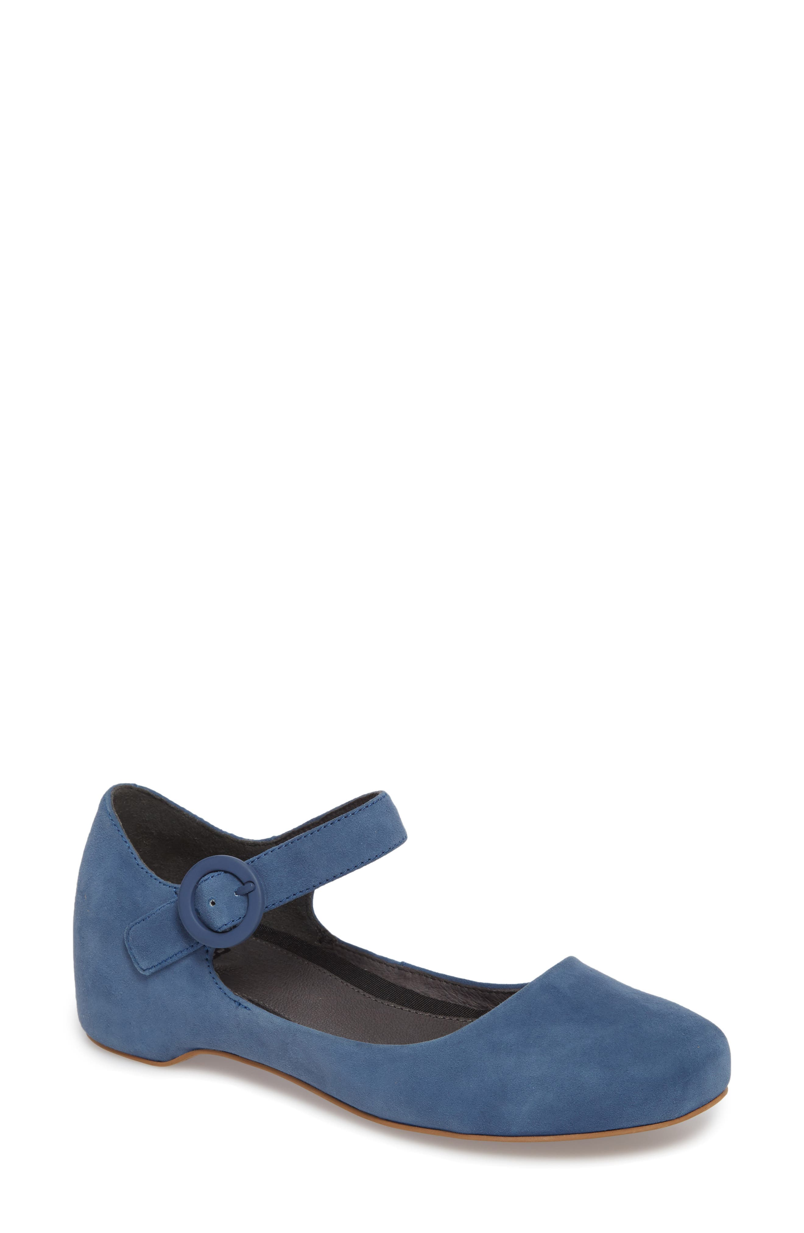 Serena Mary Jane Flat,                             Main thumbnail 1, color,                             Bright Blue Suede