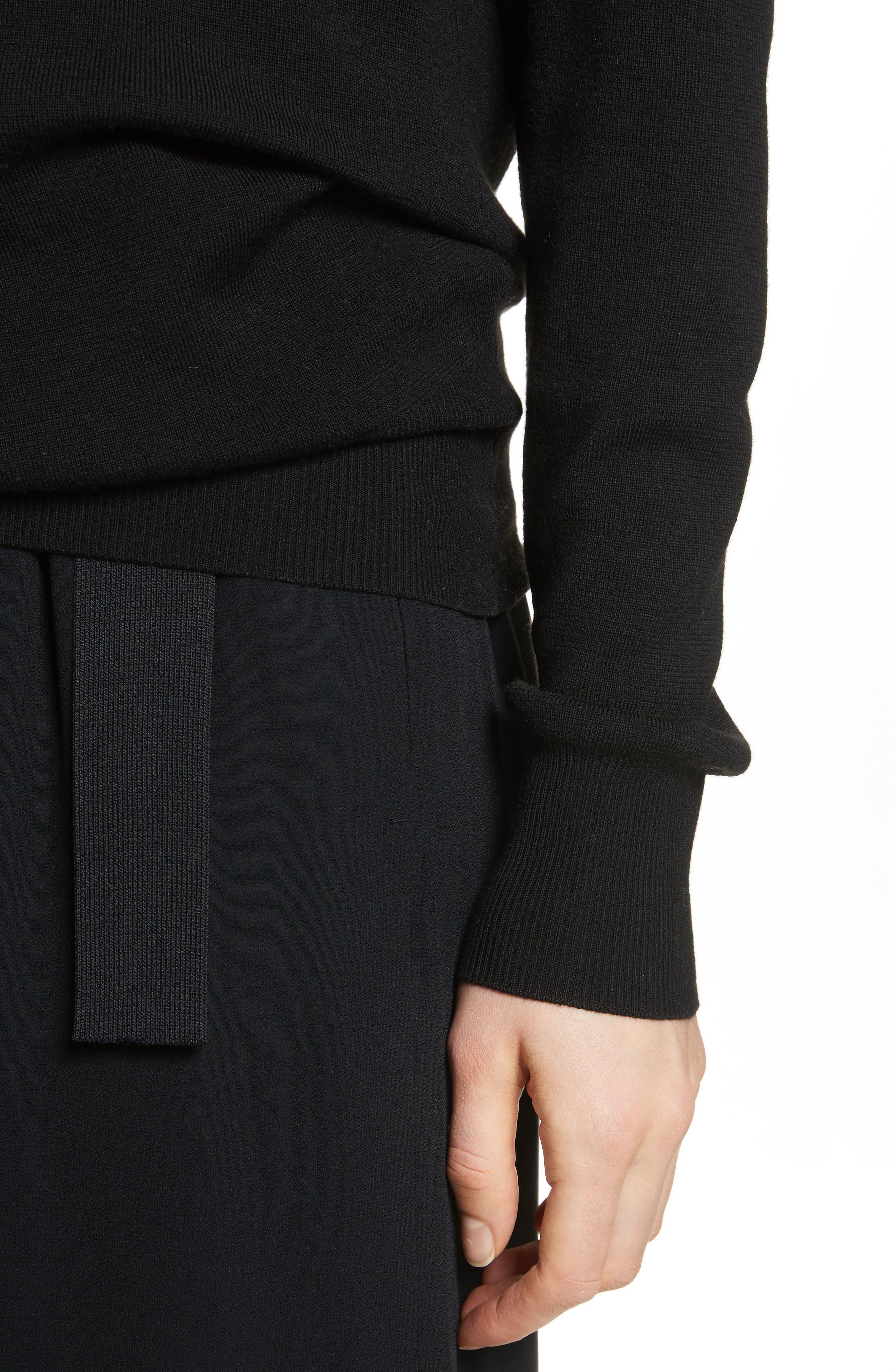Slit Back Sweater,                             Alternate thumbnail 4, color,                             Black