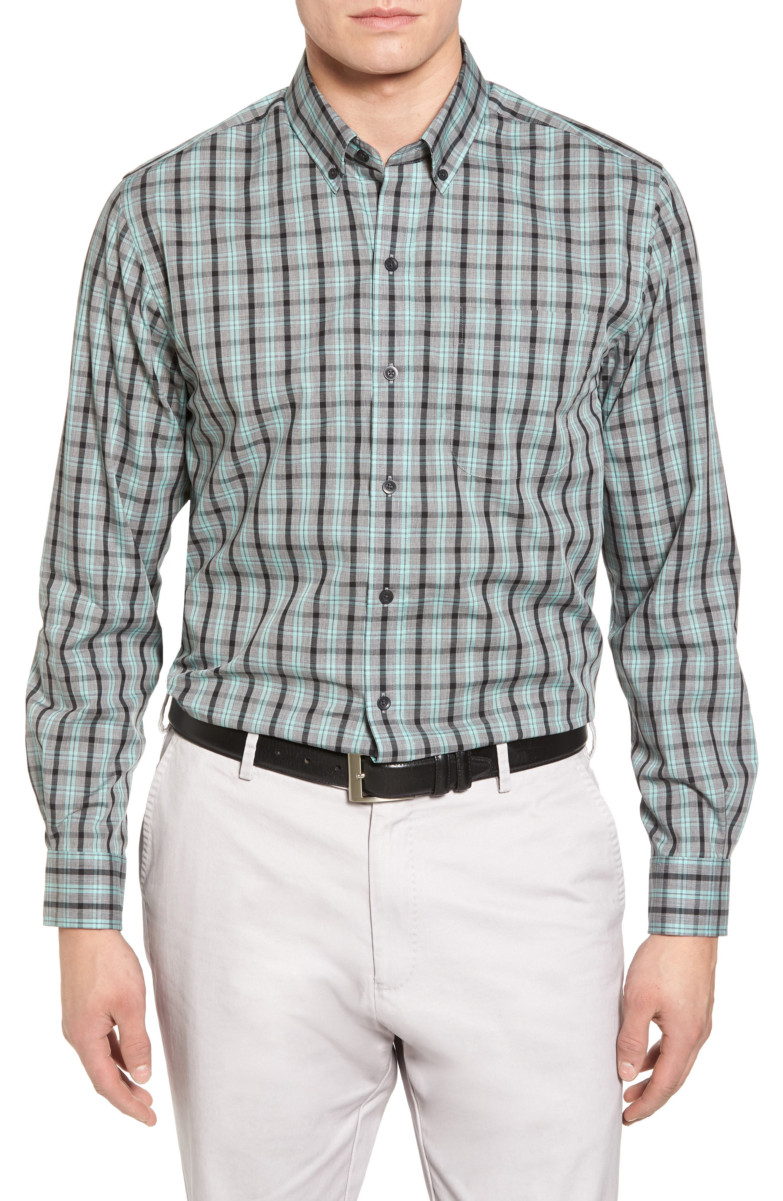 Davis Non-Iron Plaid Sport Shirt,                             Main thumbnail 1, color,                             Aquastone
