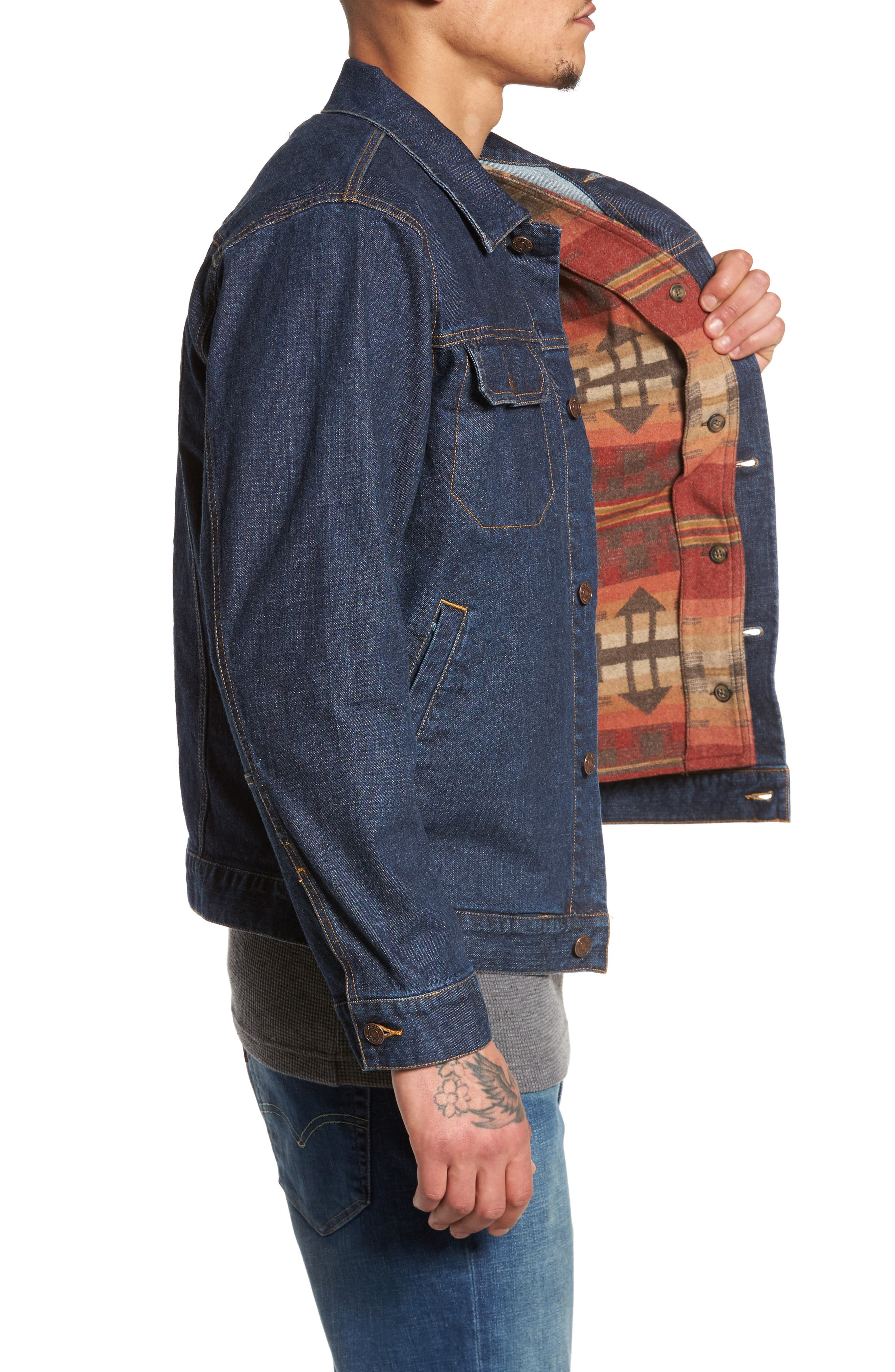 Denim Jacket with Removable Wool Vest,                             Alternate thumbnail 3, color,                             Denim With Broken Arrow Red