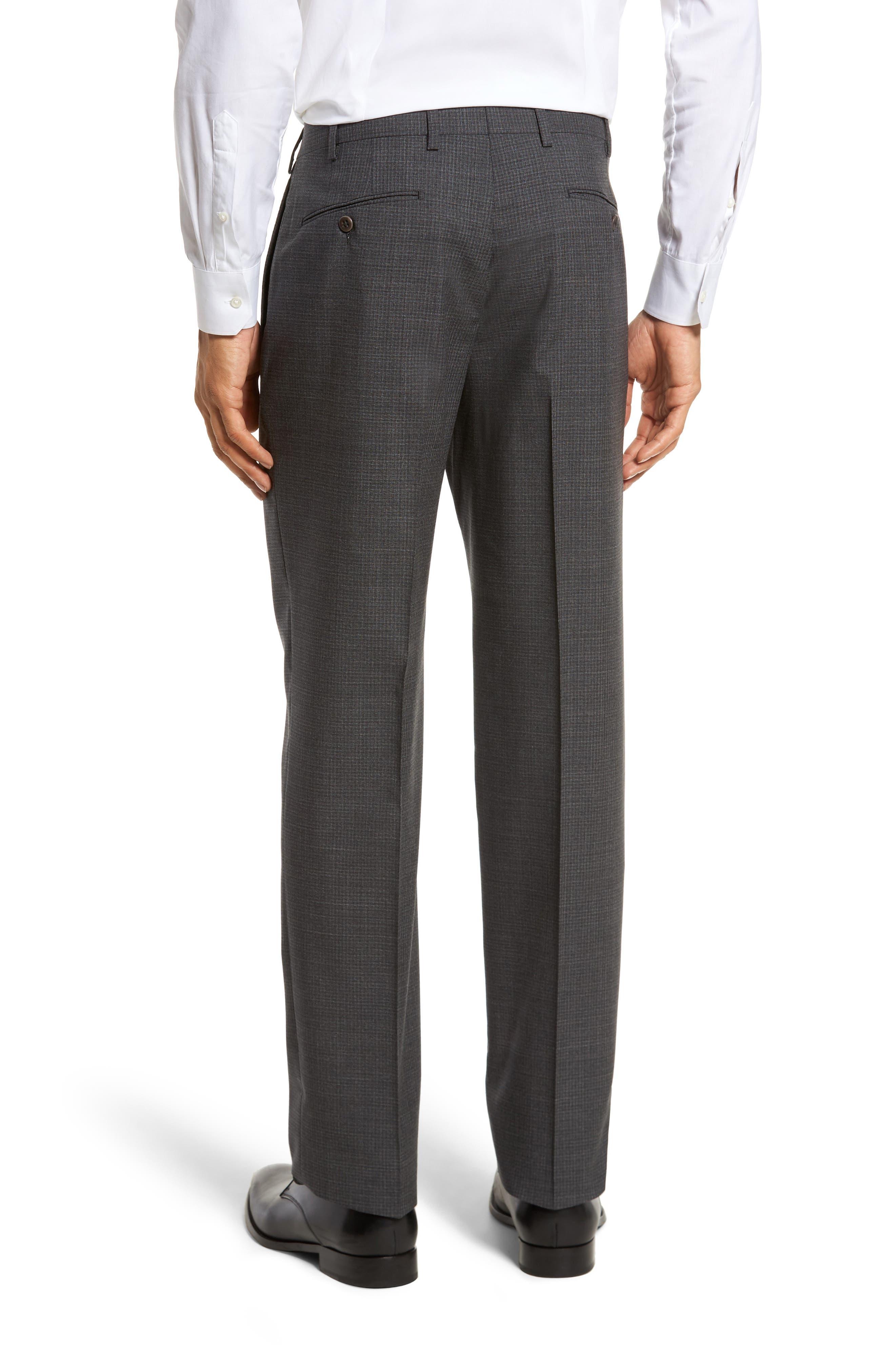 Devon Flat Front Check Wool Trousers,                             Alternate thumbnail 2, color,                             Dark Grey