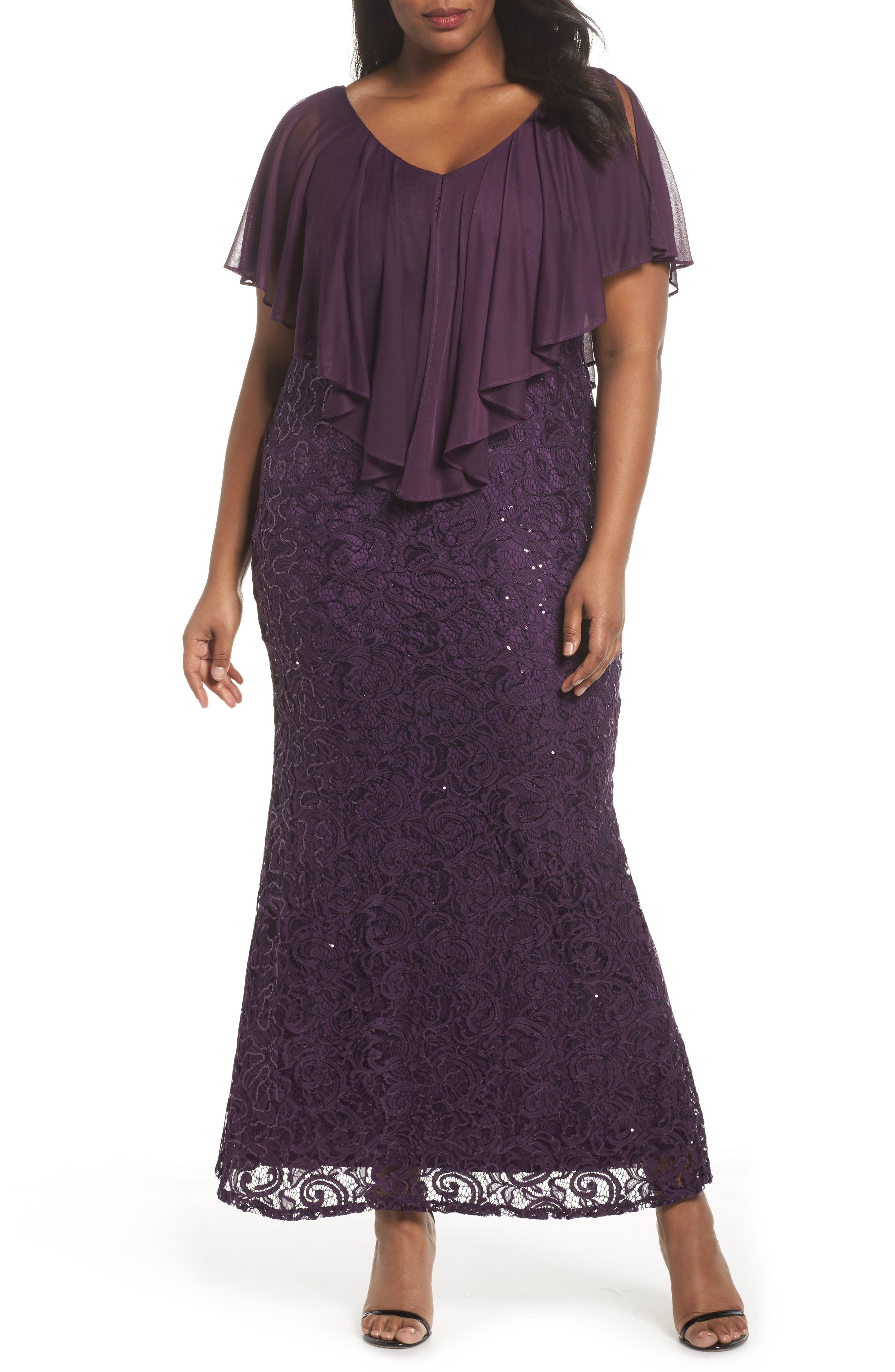 Alternate Image 1 Selected - Marina Capelet Sequin Lace A-Line Gown (Plus Size)