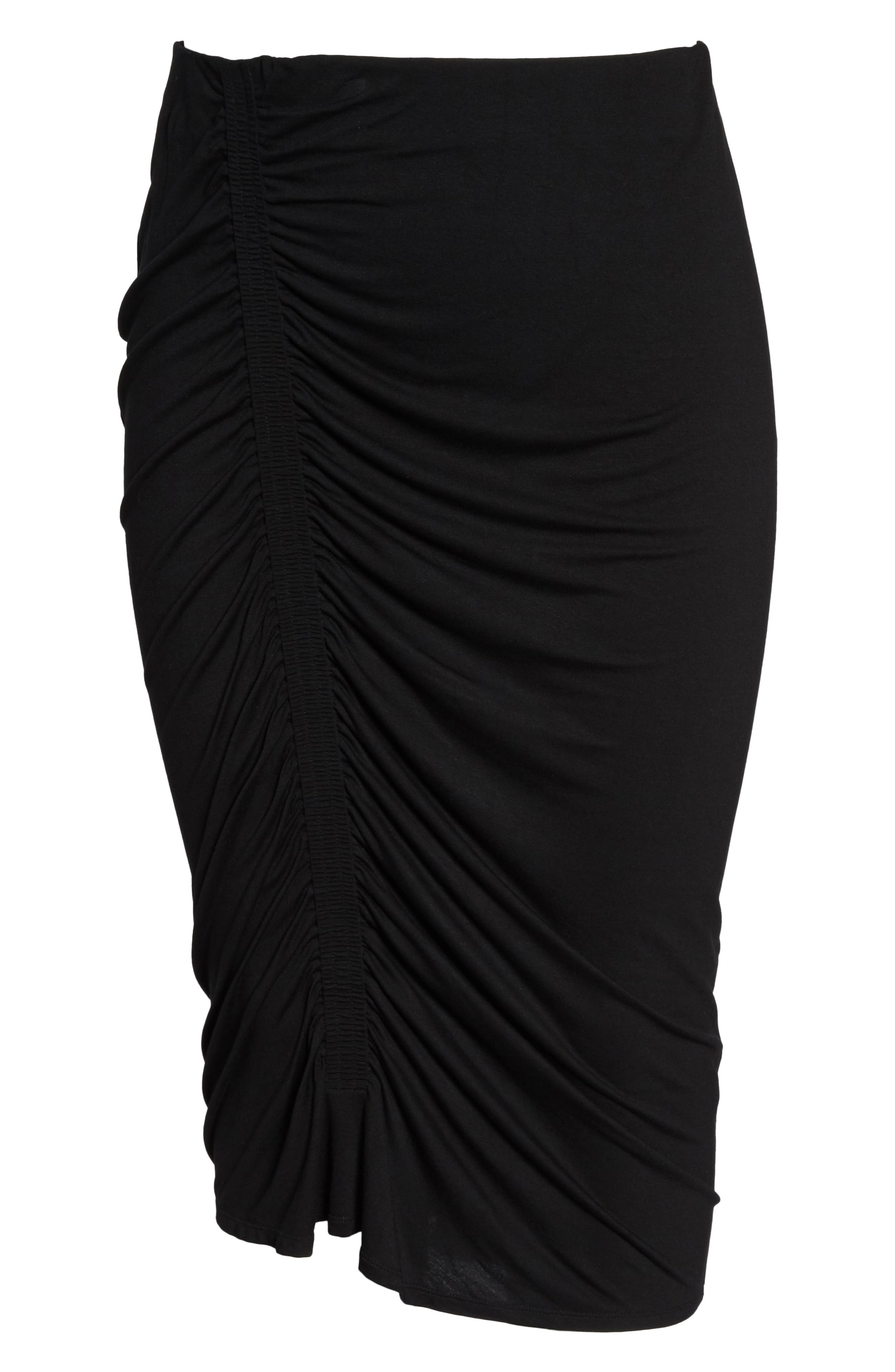 Side Ruched Pencil Skirt,                             Alternate thumbnail 6, color,                             Rich Black