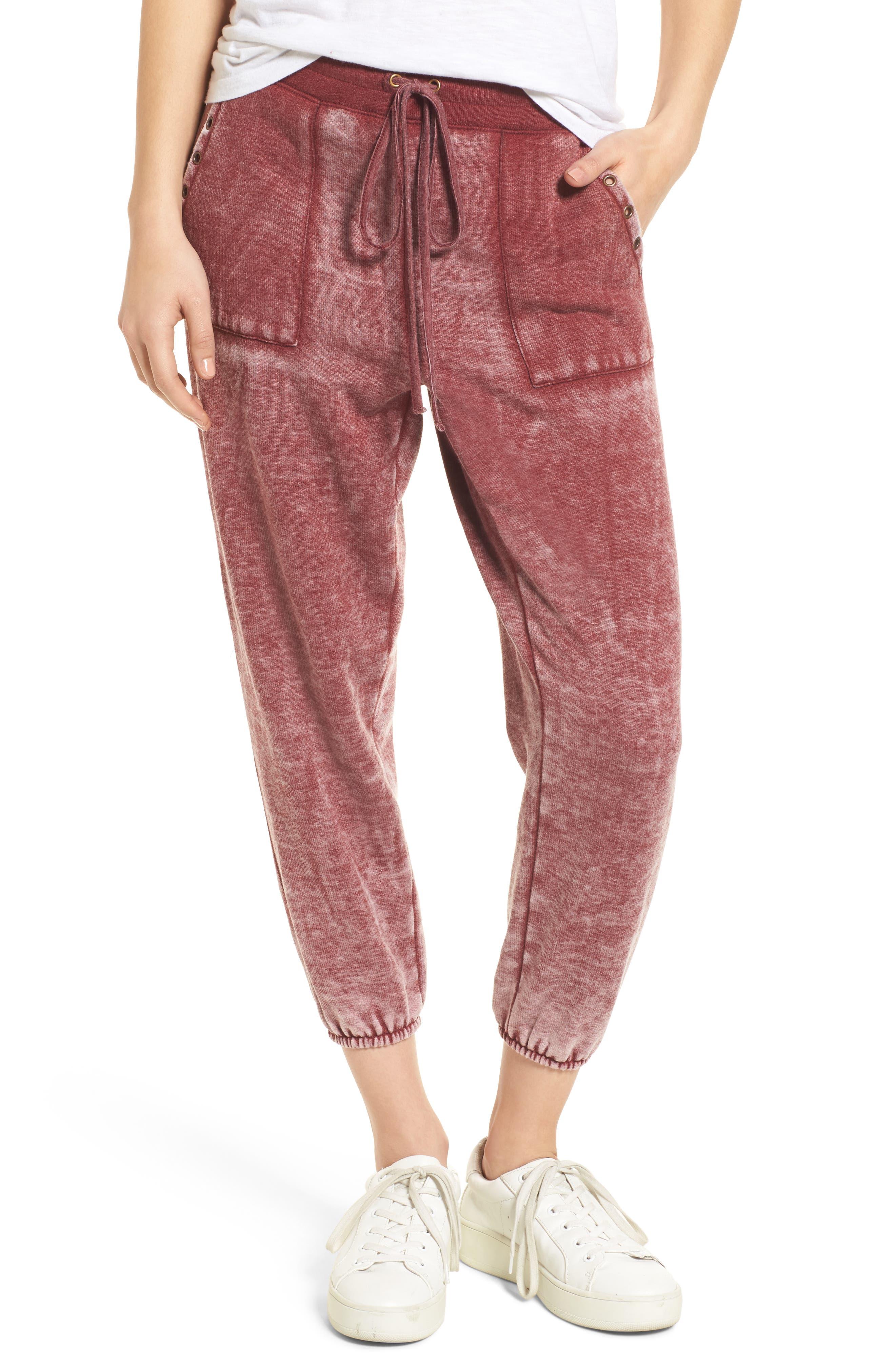 Grommet Detail Jogger Pants,                         Main,                         color, Burgundy