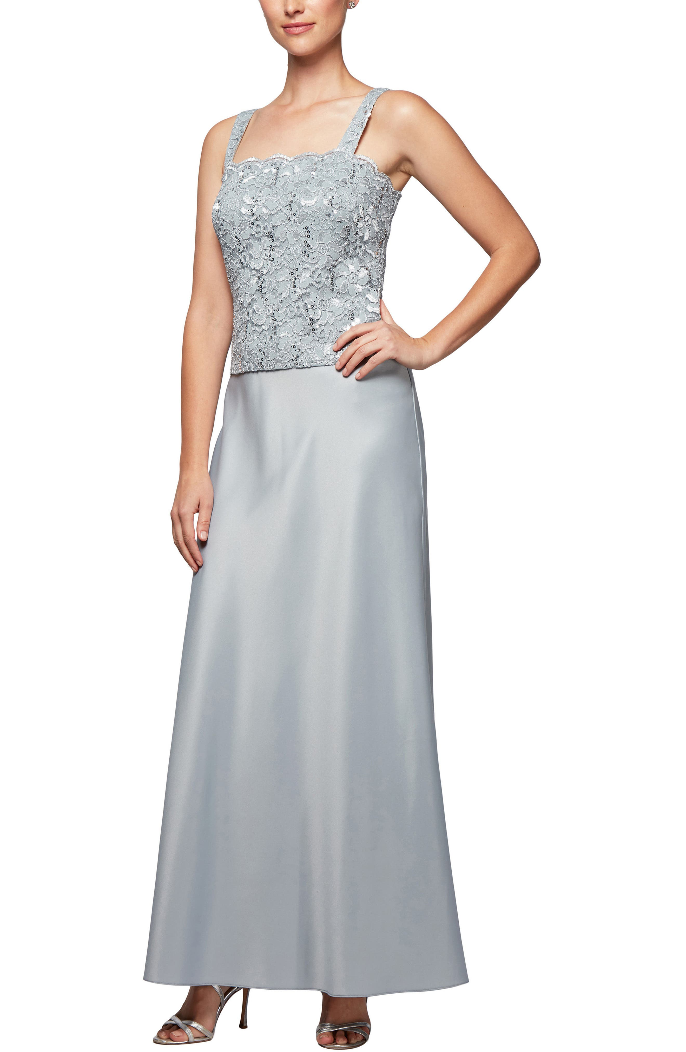 Scalloped Lace Gown with Jacket,                             Alternate thumbnail 4, color,                             Silver Frost