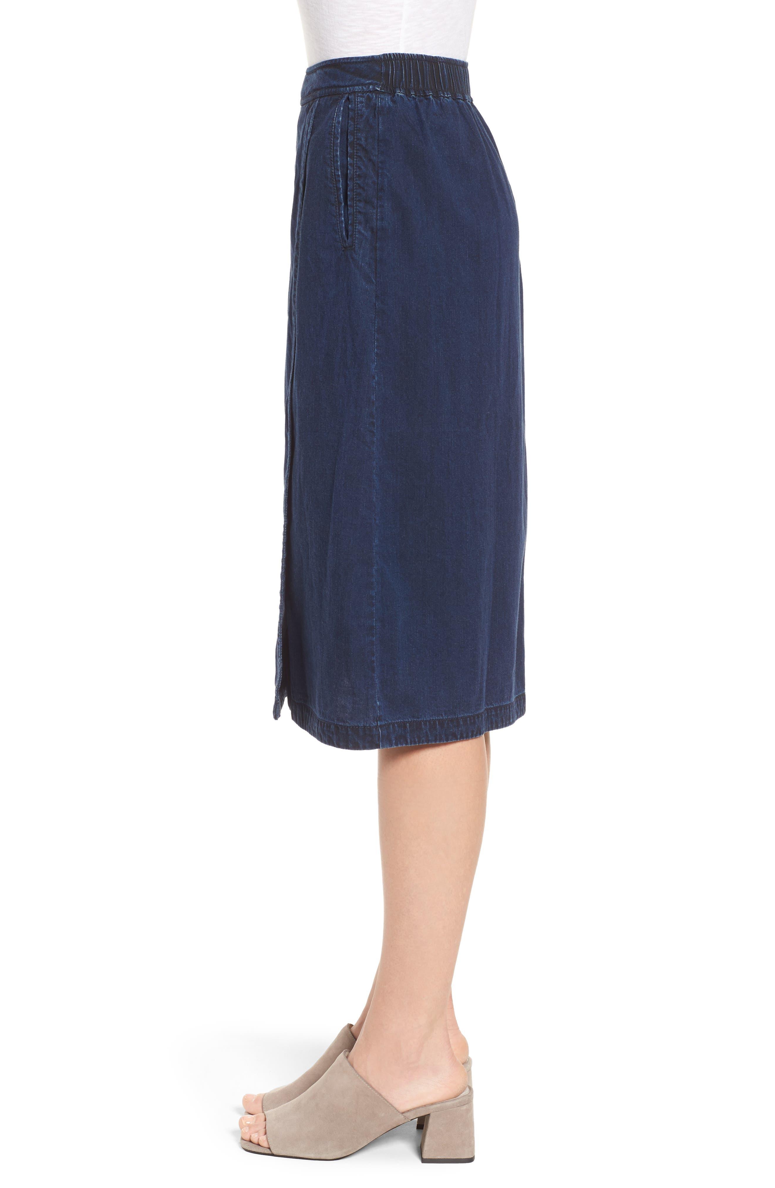 Faux Wrap Denim Skirt,                             Alternate thumbnail 3, color,                             Midnight