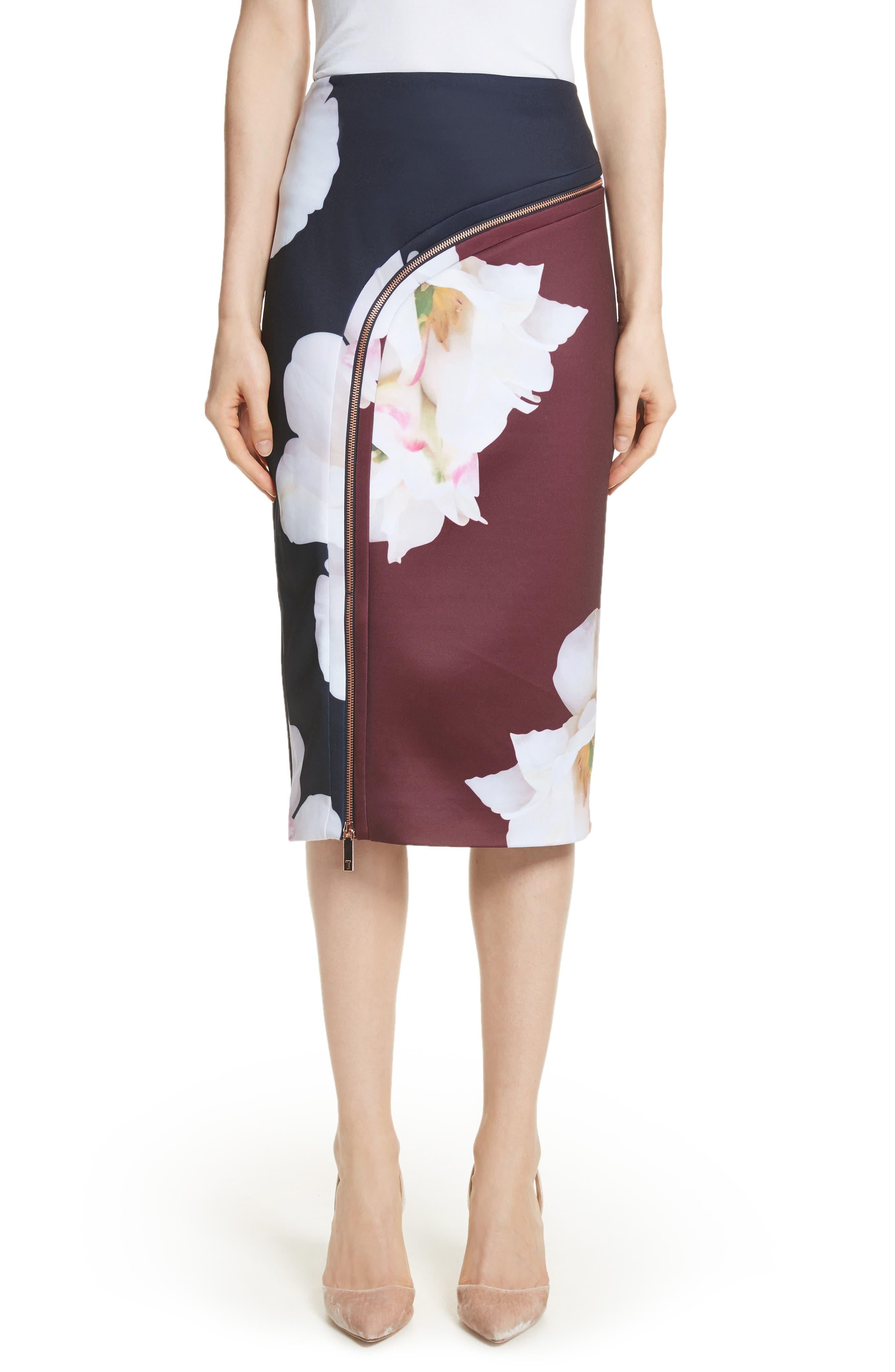 Gardenia Pencil Skirt,                         Main,                         color, Dark Blue