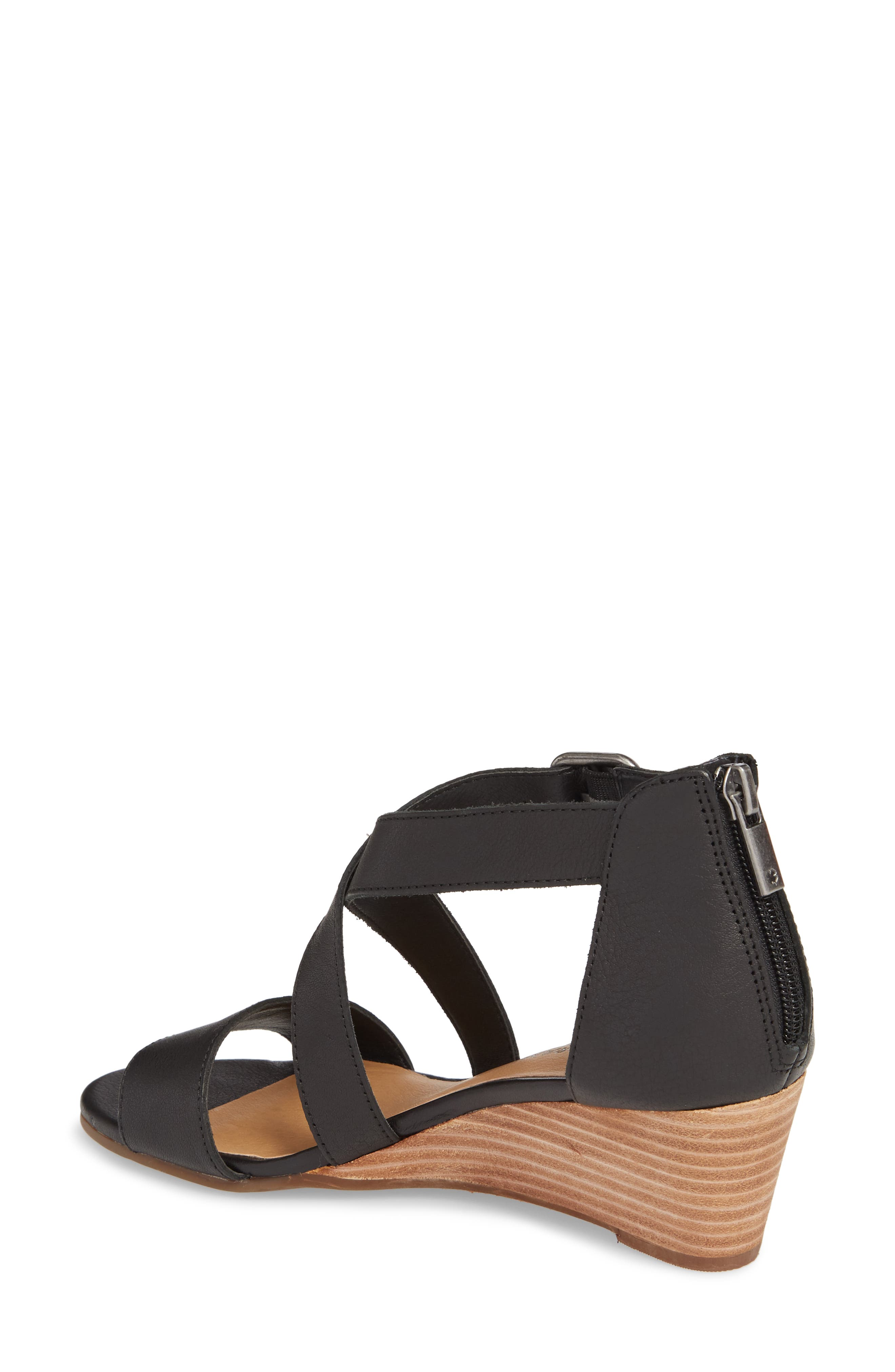 Jestah Wedge Sandal,                             Alternate thumbnail 2, color,                             Black Leather