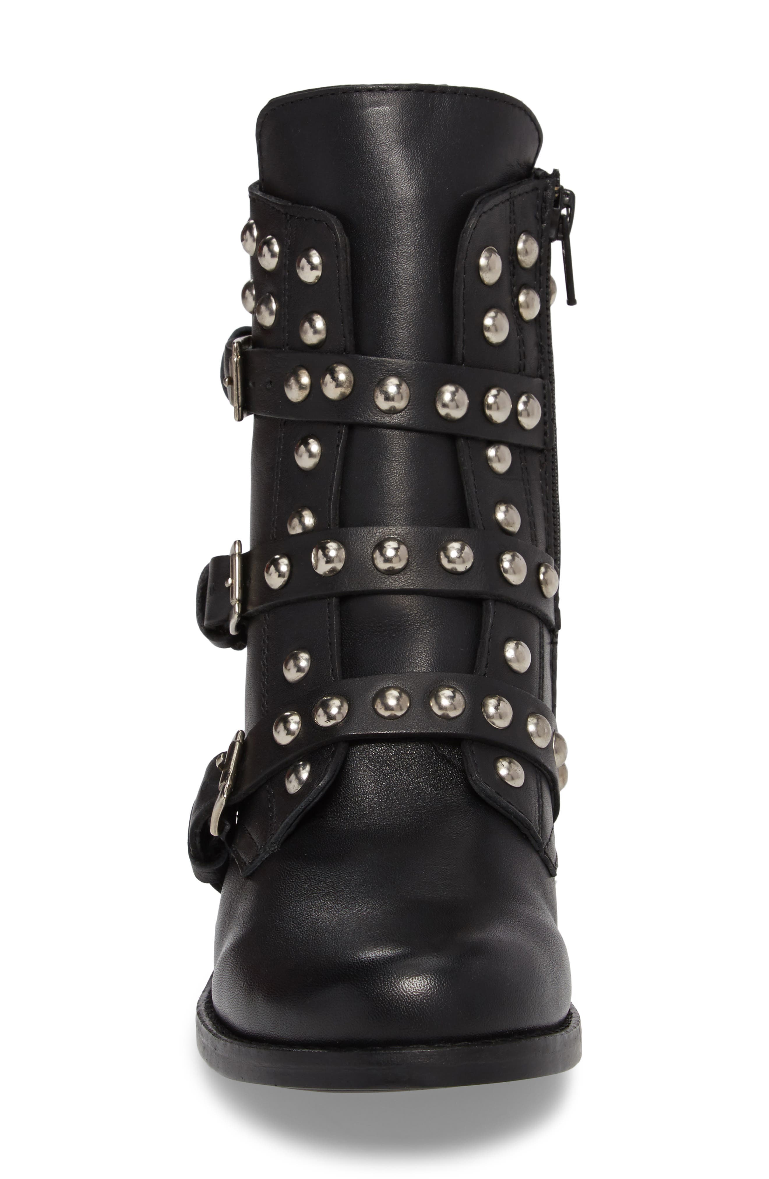 Studded Spunky Boot,                             Alternate thumbnail 4, color,                             Black Leather