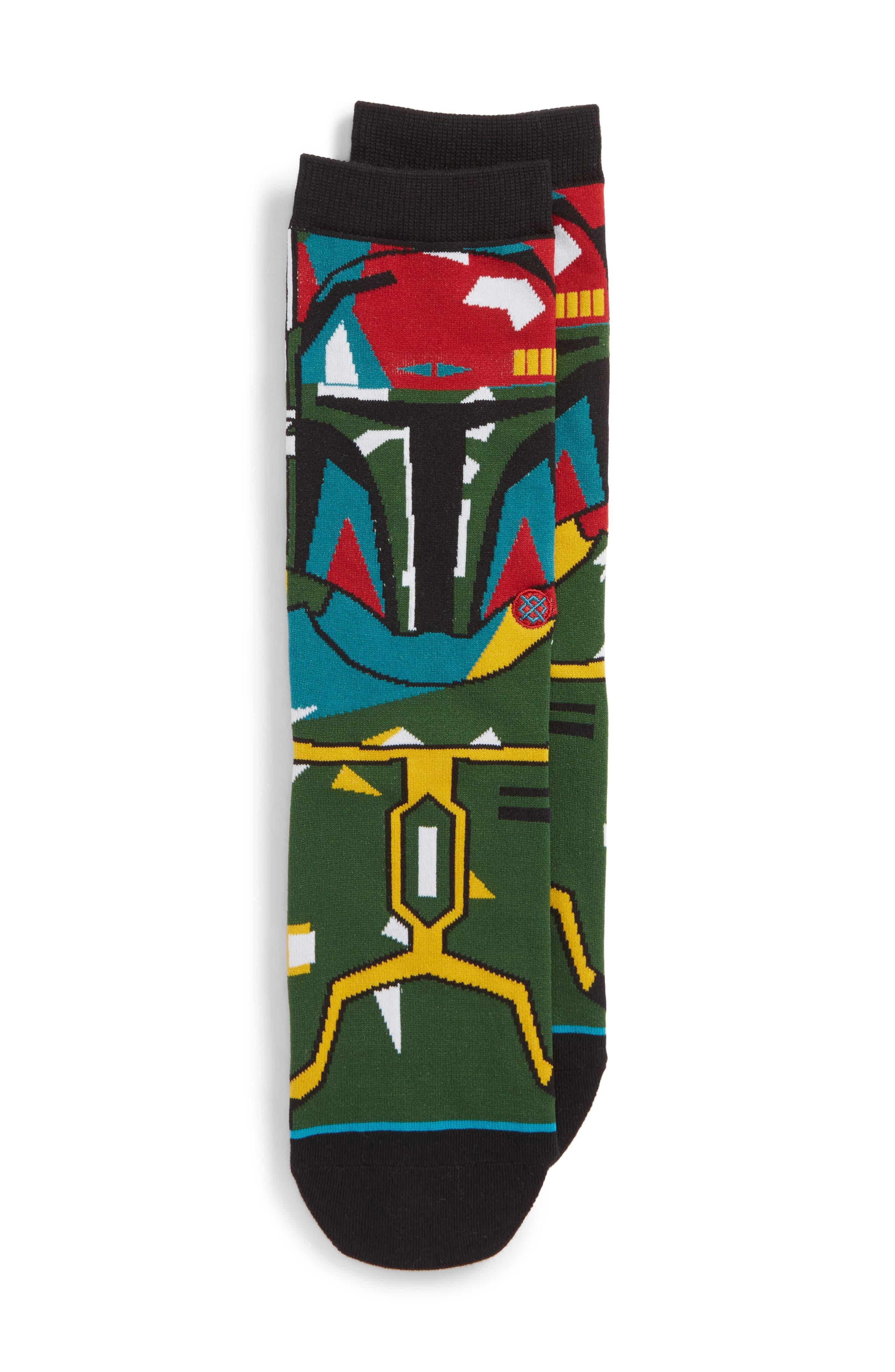 x Star Wars Boba Mosaic Socks,                             Main thumbnail 1, color,                             Black
