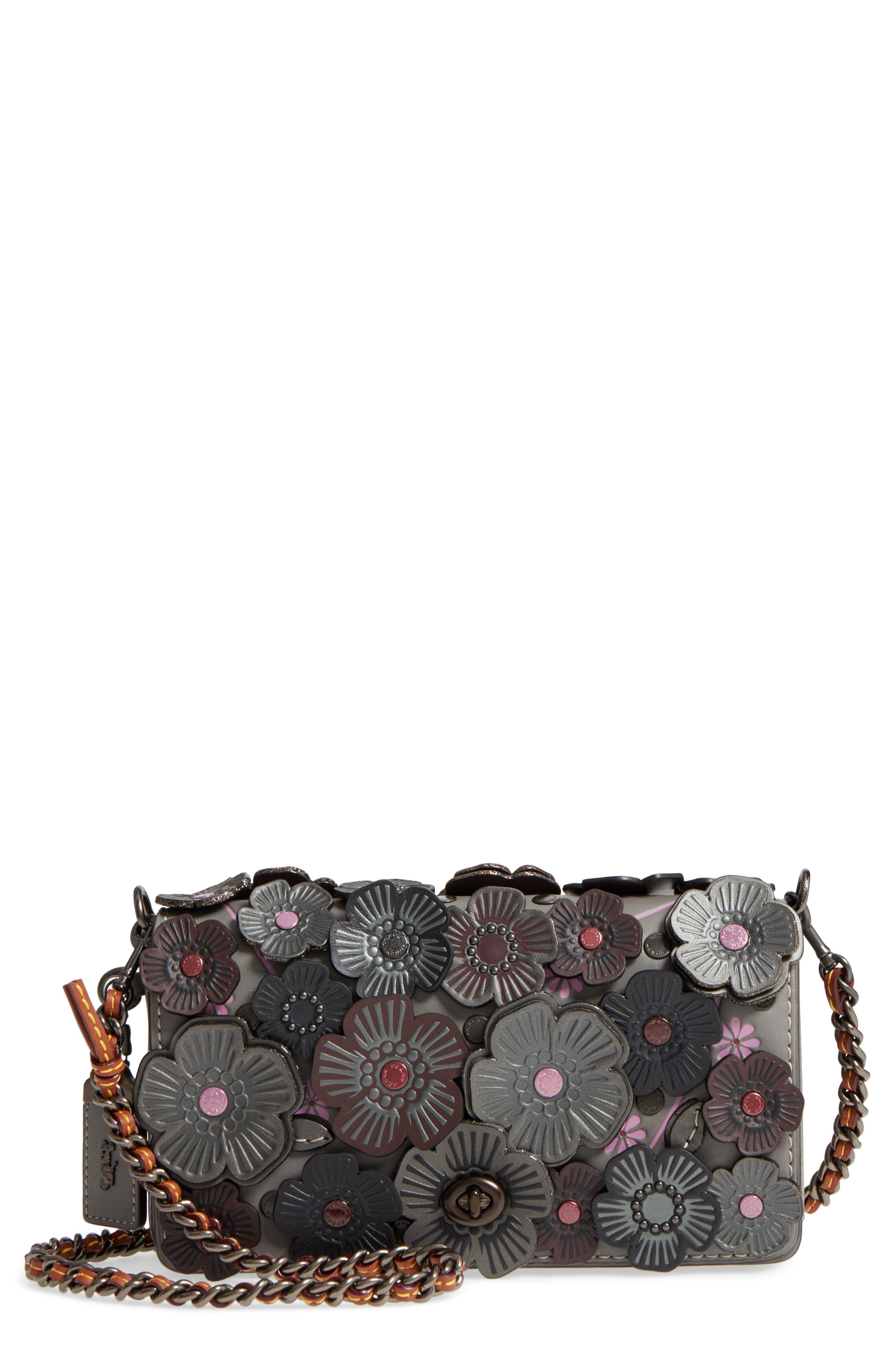 COACH 1941 'Dinky' Flower Appliqué Leather Crossbody Bag
