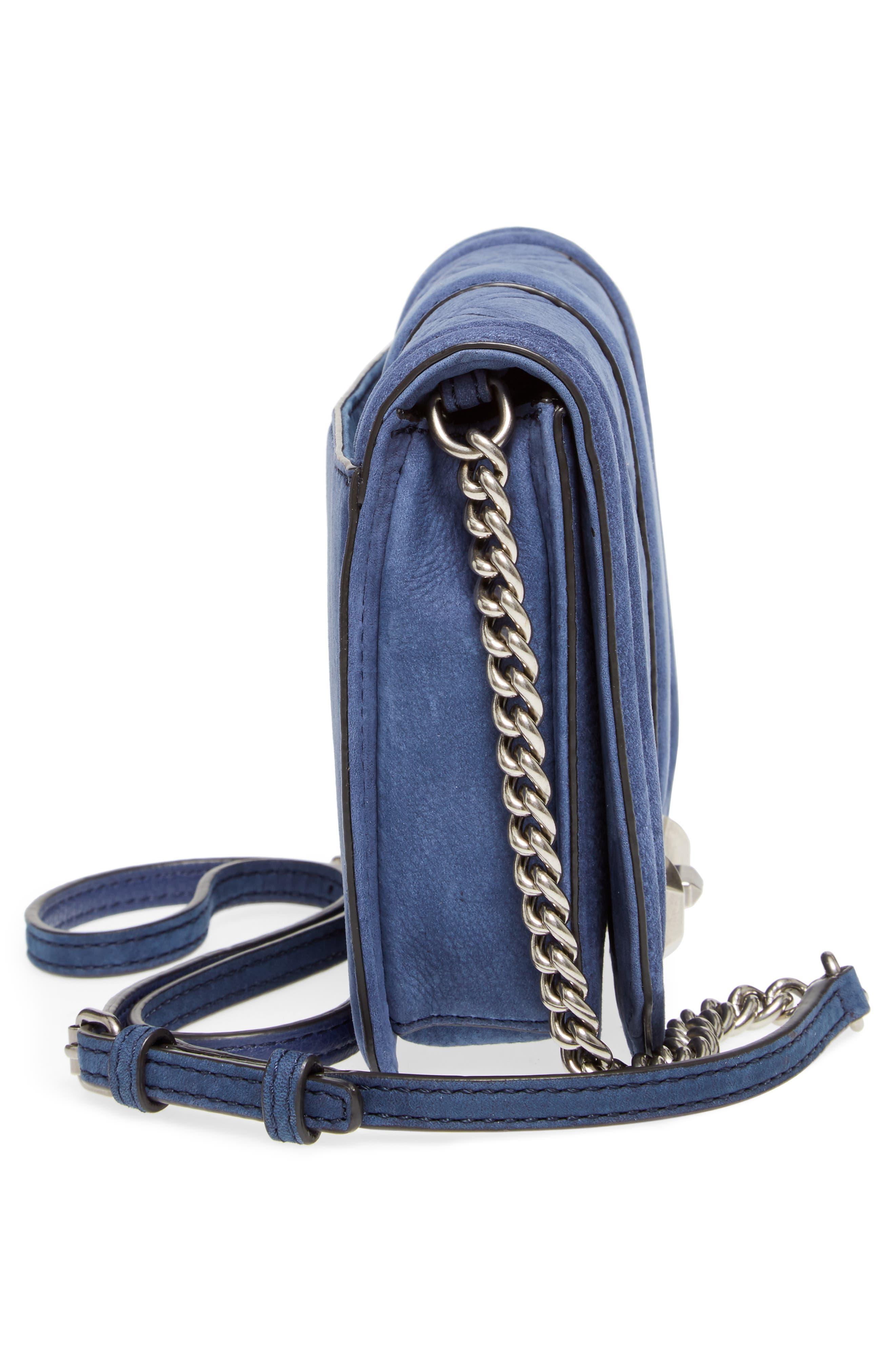 Small Love Nubuck Leather Crossbody Bag,                             Alternate thumbnail 5, color,                             True Navy