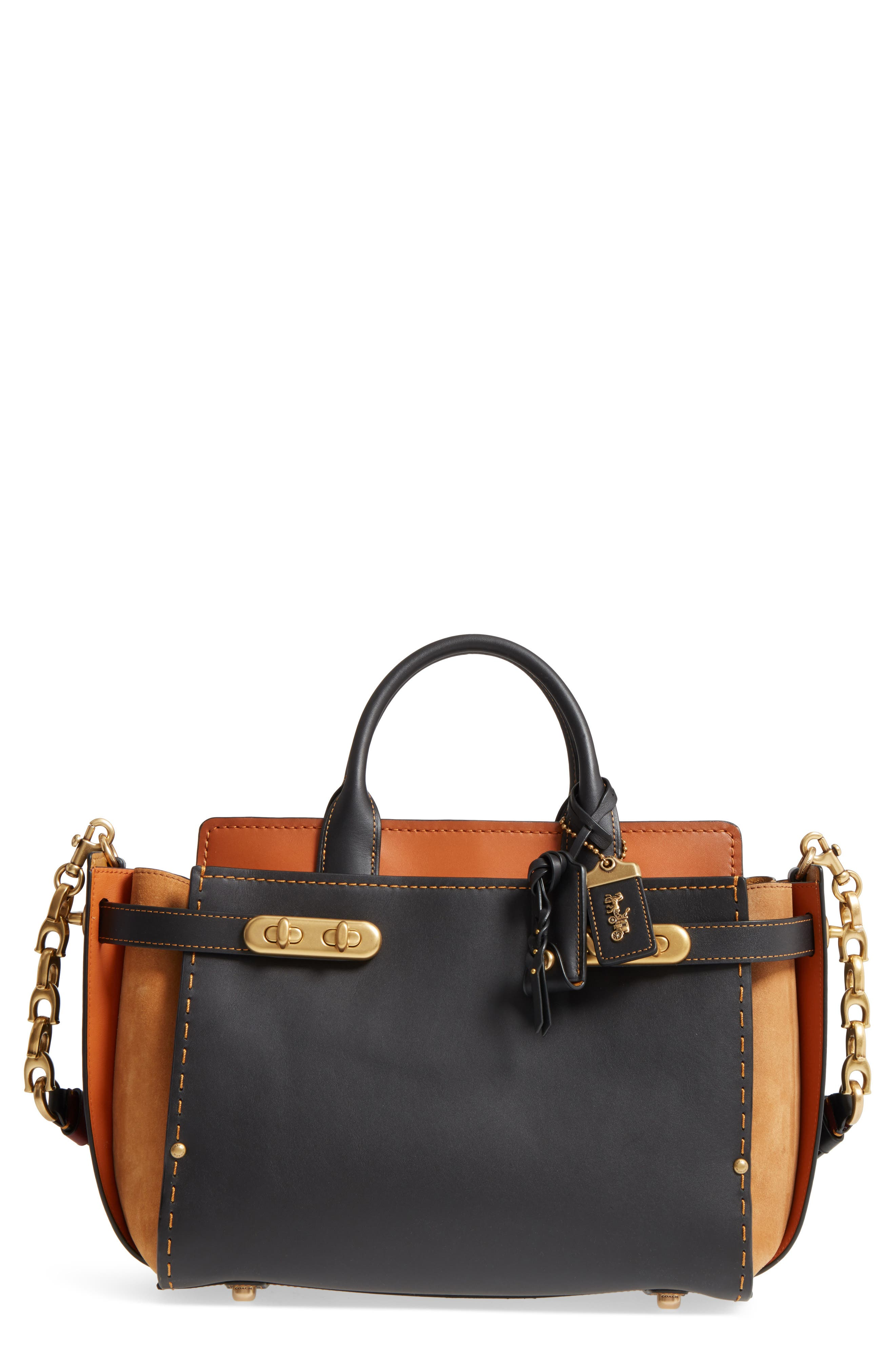 Double Swagger Leather Satchel,                             Main thumbnail 1, color,                             Black Multi
