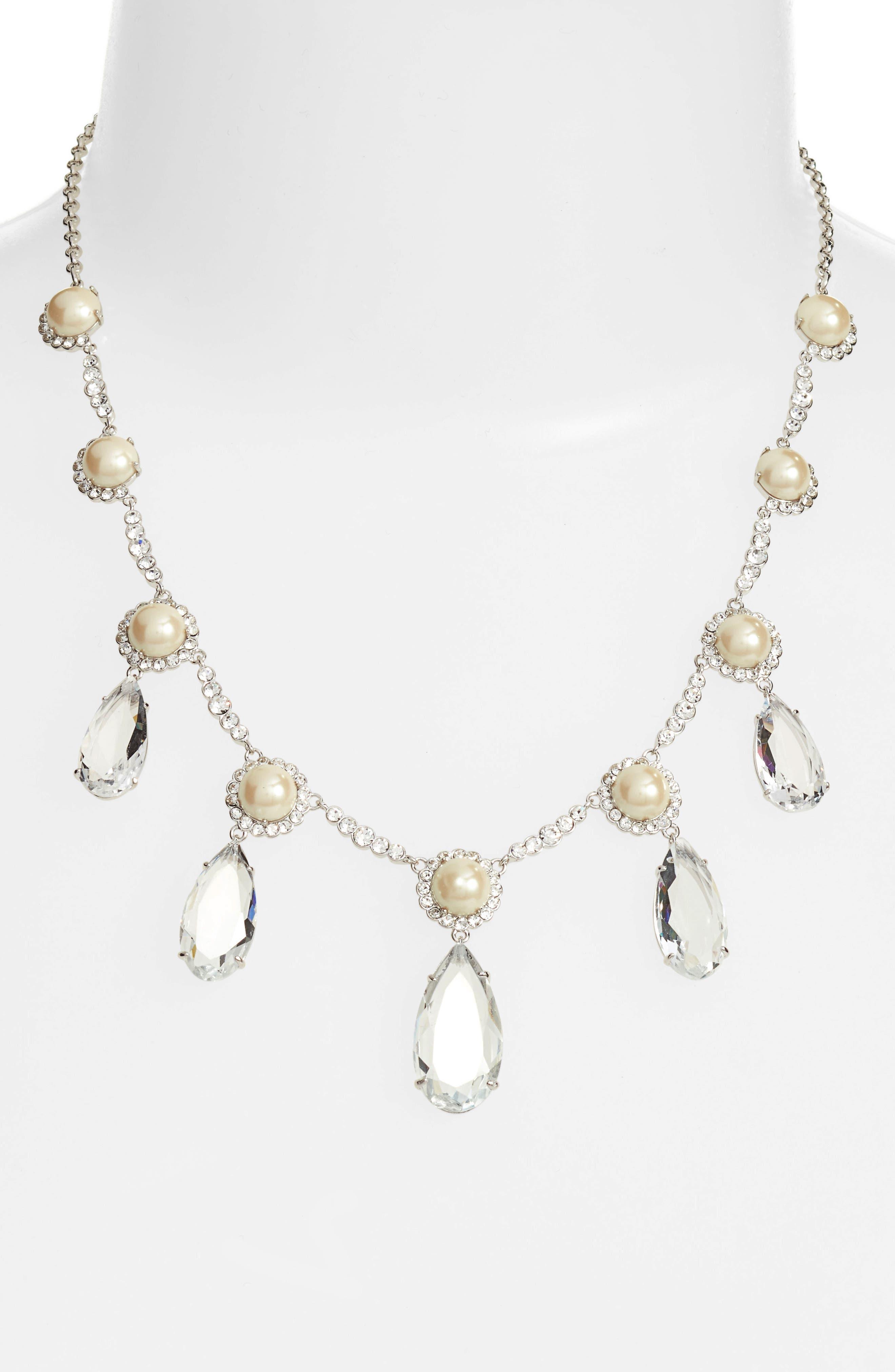 glitz and glam imitation pearl necklace,                         Main,                         color, Cream/ Silver