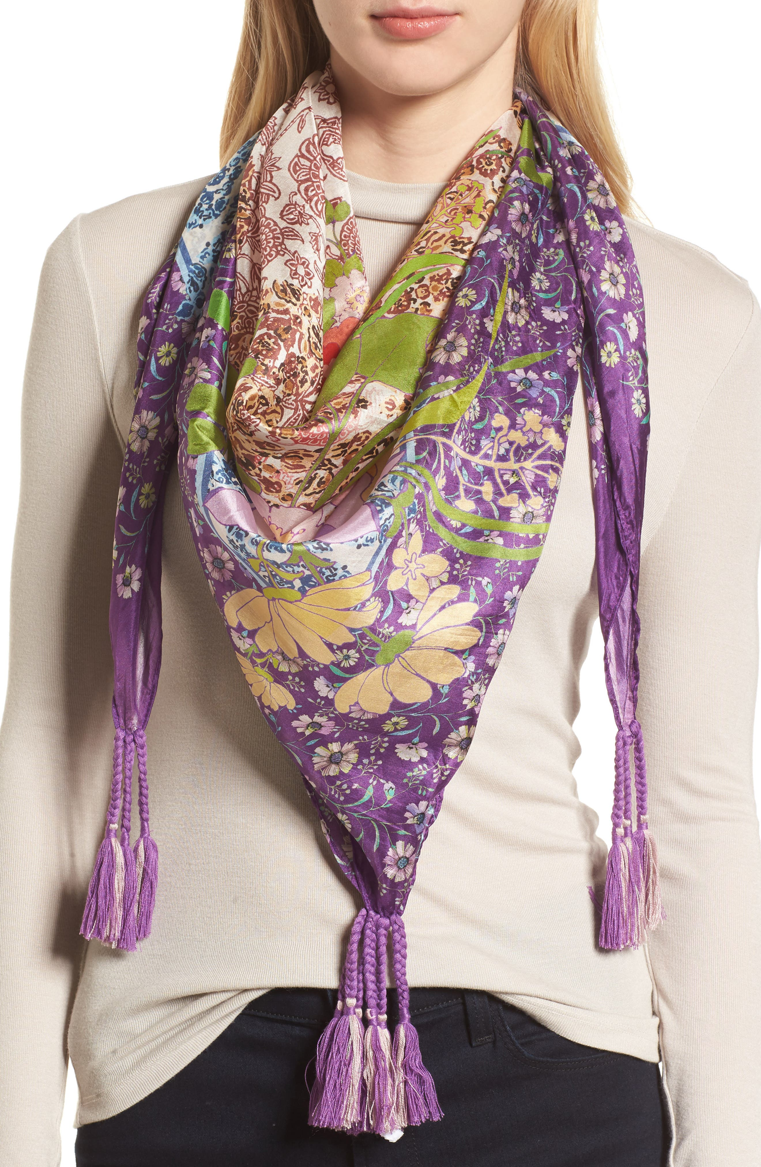 Aratta Revised Silk Scarf,                         Main,                         color, Multi