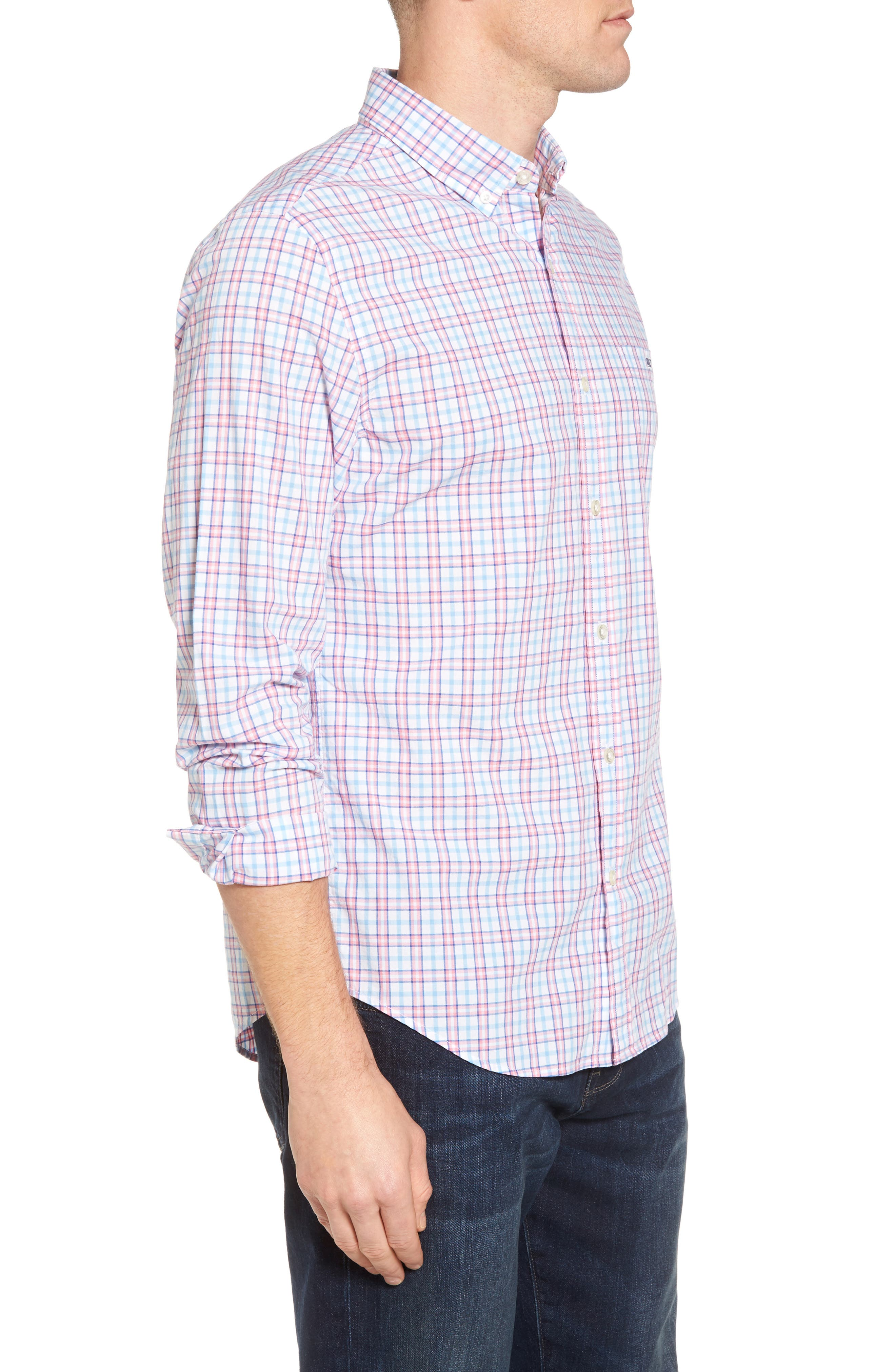 Kennard Tucker Slim Fit Plaid Sport Shirt,                             Alternate thumbnail 2, color,                             Bahama Breeze