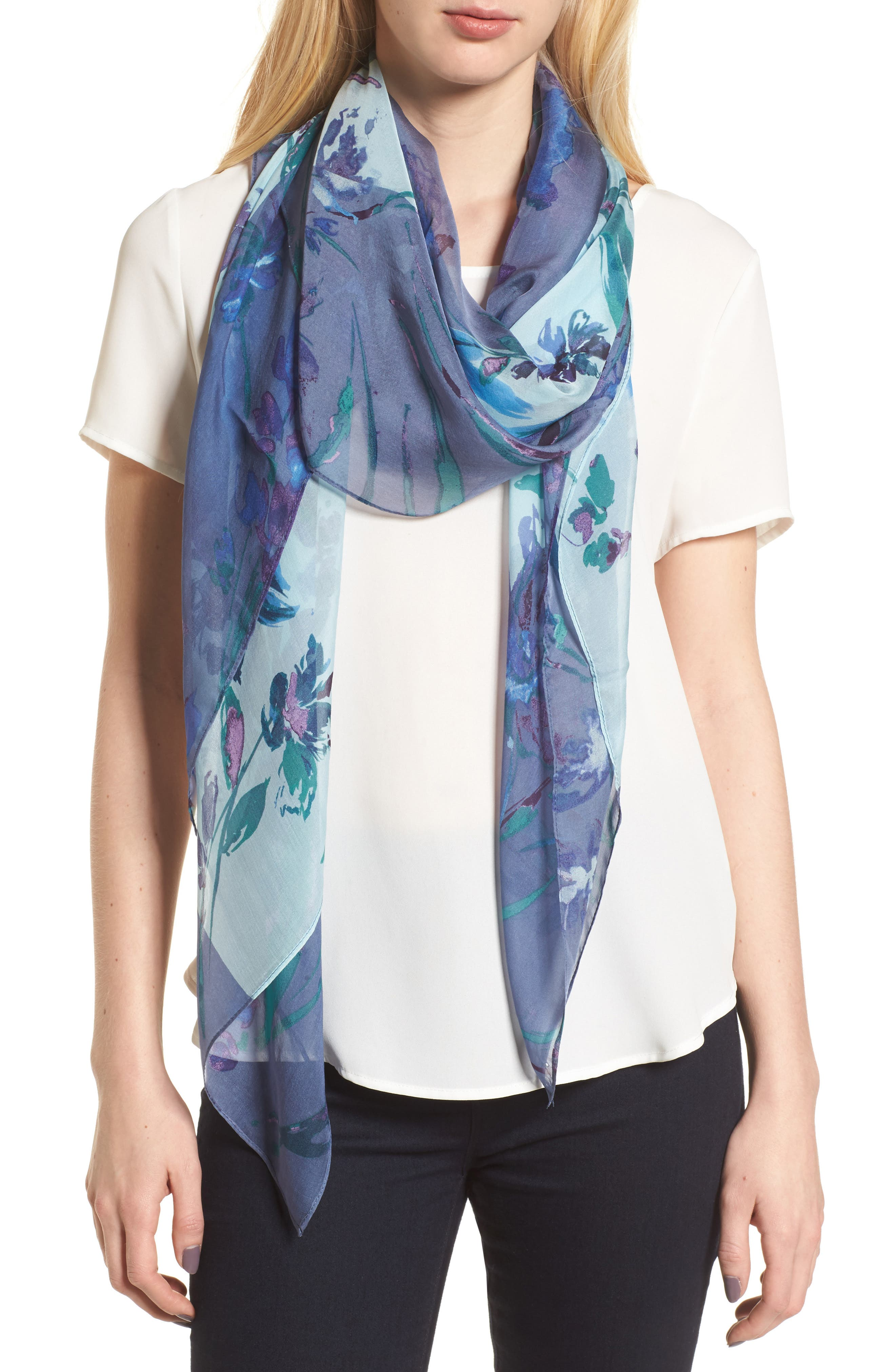 Silk Chiffon Oblong Scarf,                         Main,                         color, Blue Mapped Floral Mix