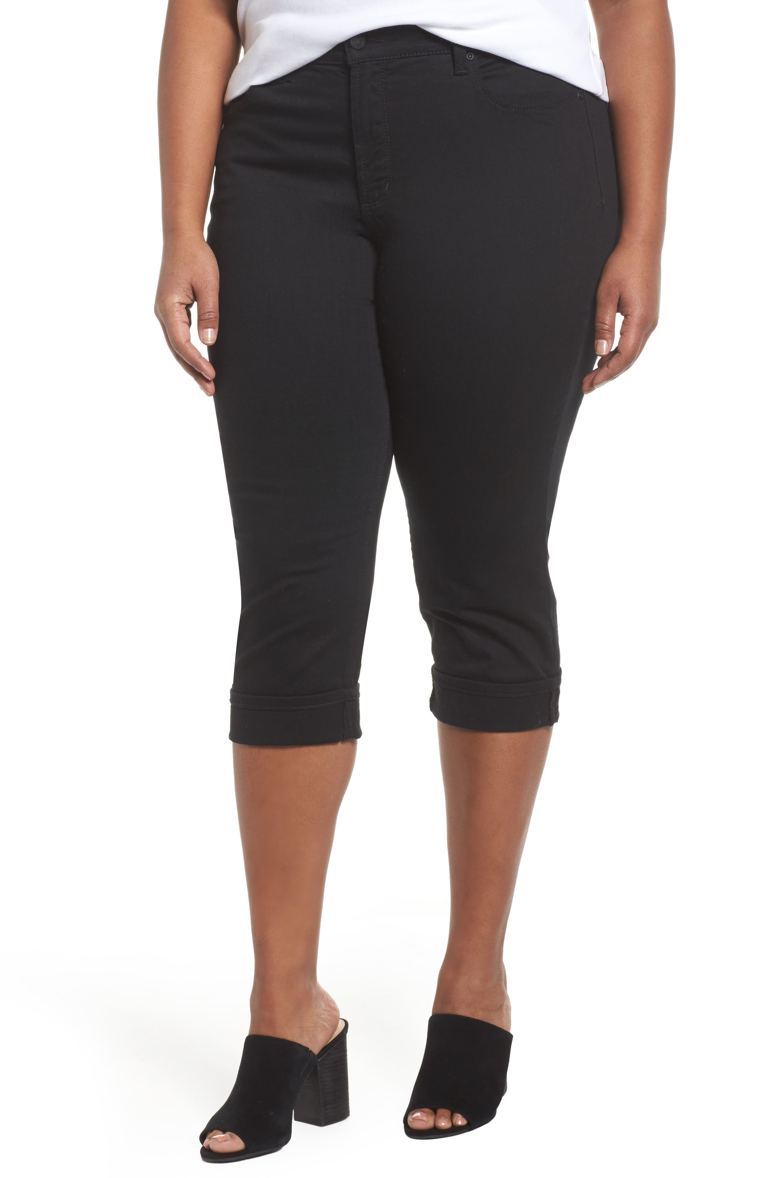 Marilyn Cropped Cuff Jeans,                         Main,                         color, Black