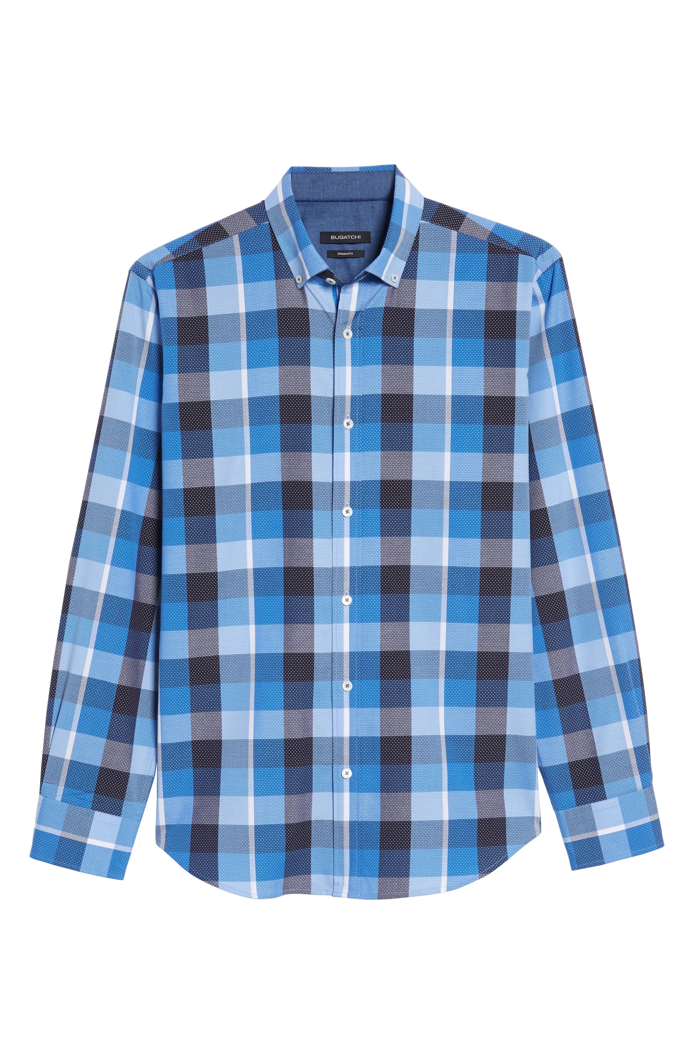 Shaped Fit Check Dot Sport Shirt,                             Alternate thumbnail 6, color,                             Classic Blue