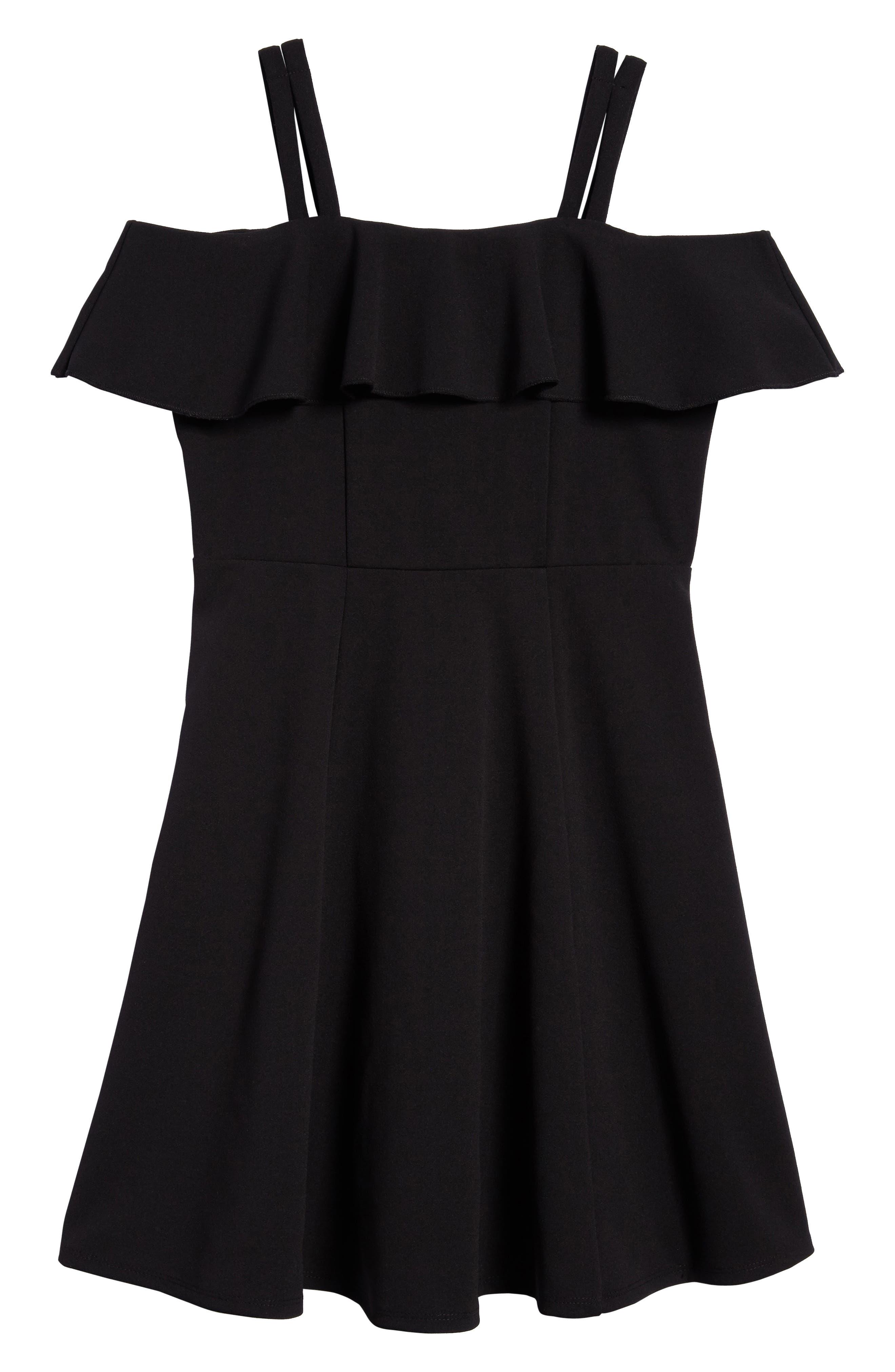 Off the Shoulder Ruffle Dress,                             Main thumbnail 1, color,                             Black